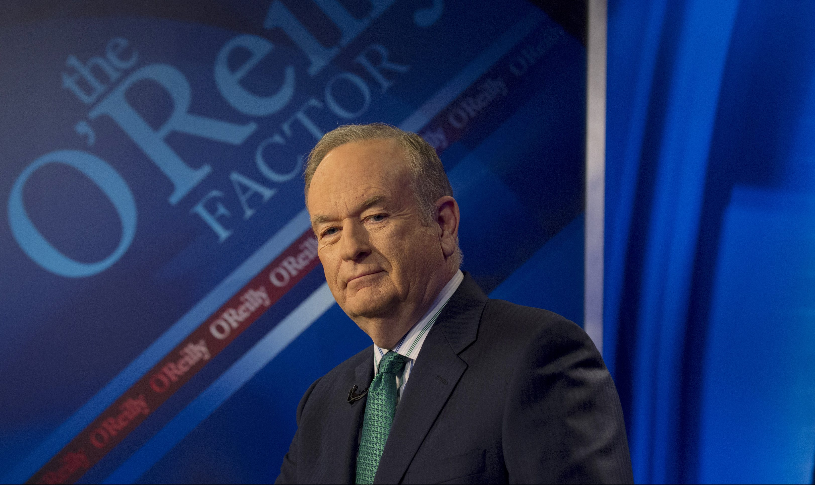"""Fox News Channel host Bill O'Reilly poses on the set of his show """"The O'Reilly Factor"""" in New York March 17, 2015."""