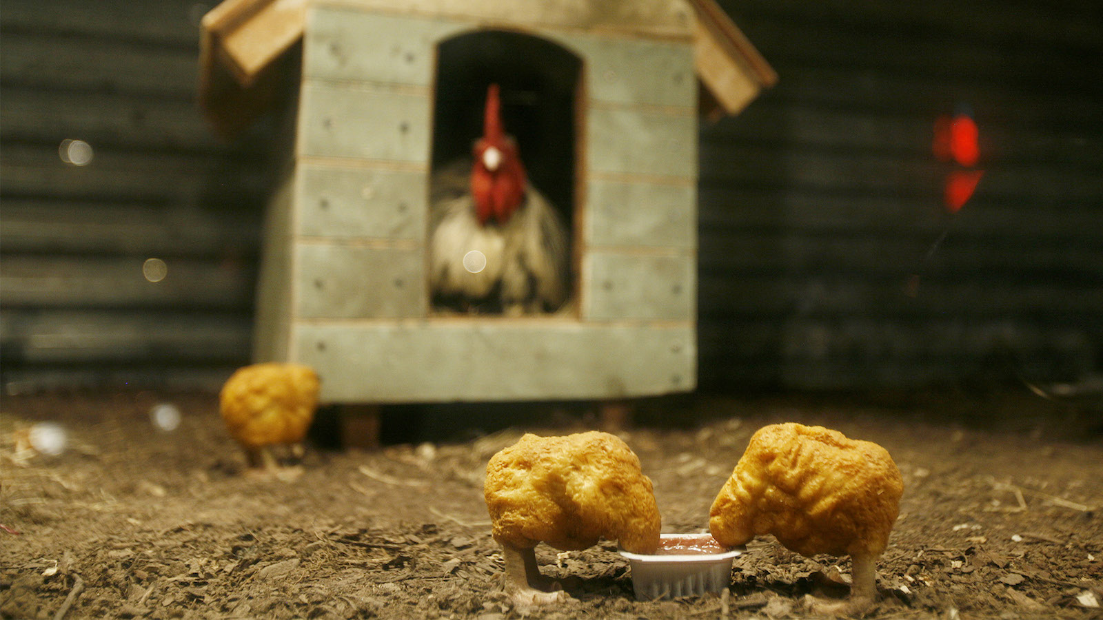 """An animatronic chicken watches two robot chicken nuggets in a window art installation by the artist """"Banksy"""" in New York, October 20, 2008. REUTERS/Lucas Jackson (UNITED STATES) - RTX9YSF"""