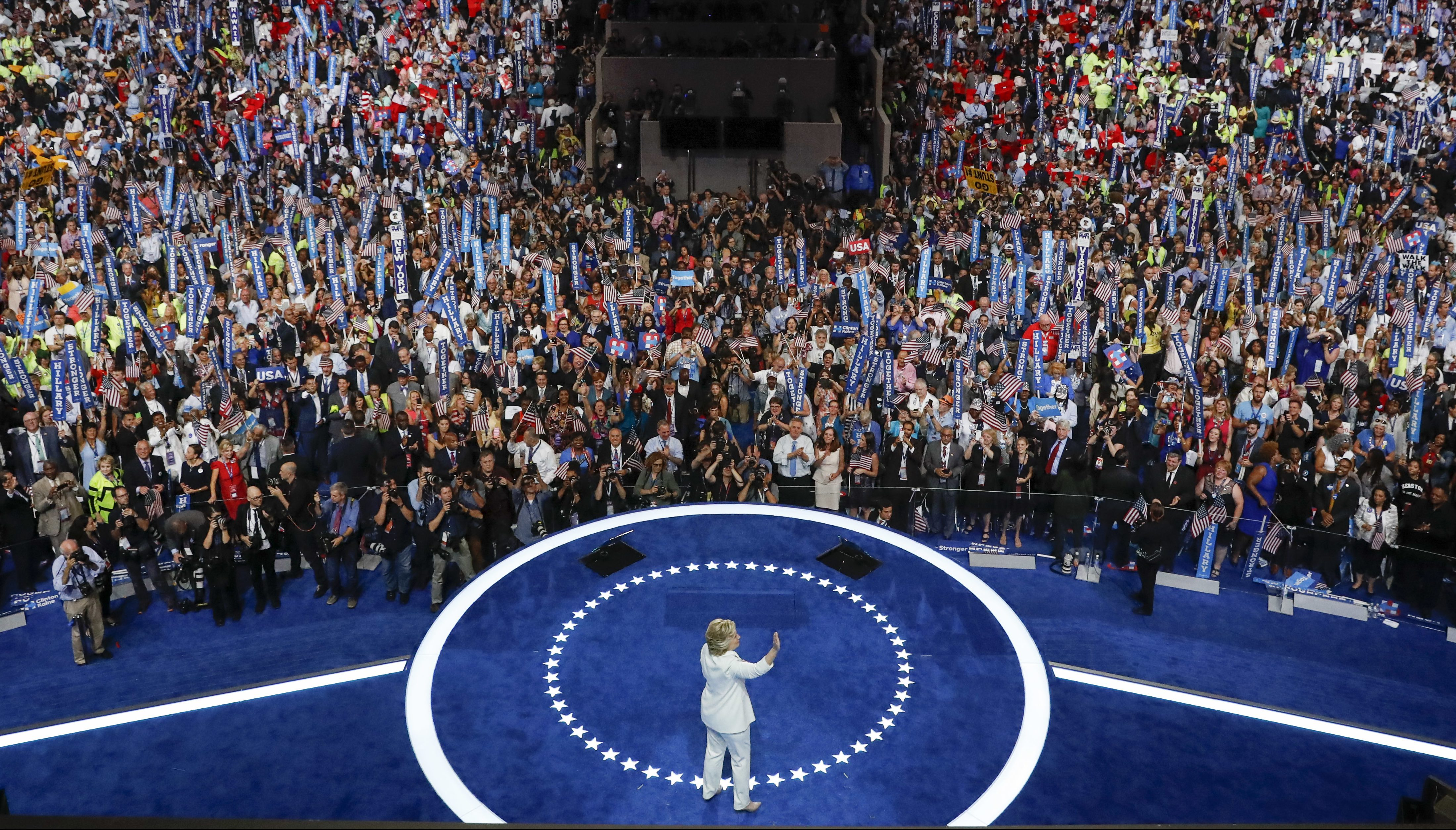 Democratic presidential nominee Hillary Clinton waves to delegates after her speech during the final day of the Democratic National Convention in Philadelphia, Thursday, July 28, 2016.
