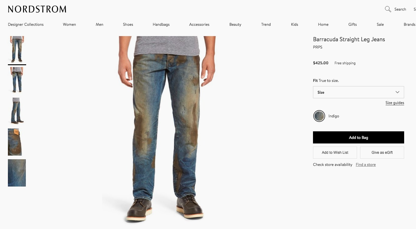 A screenshot of the PRPS jeans on Nordstrom's site