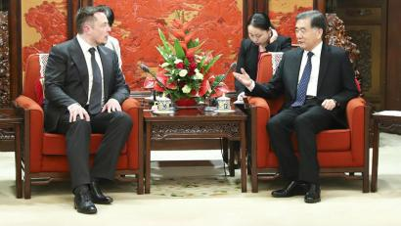 Tesla's Elon Musk with Vice Premier Wang Yang