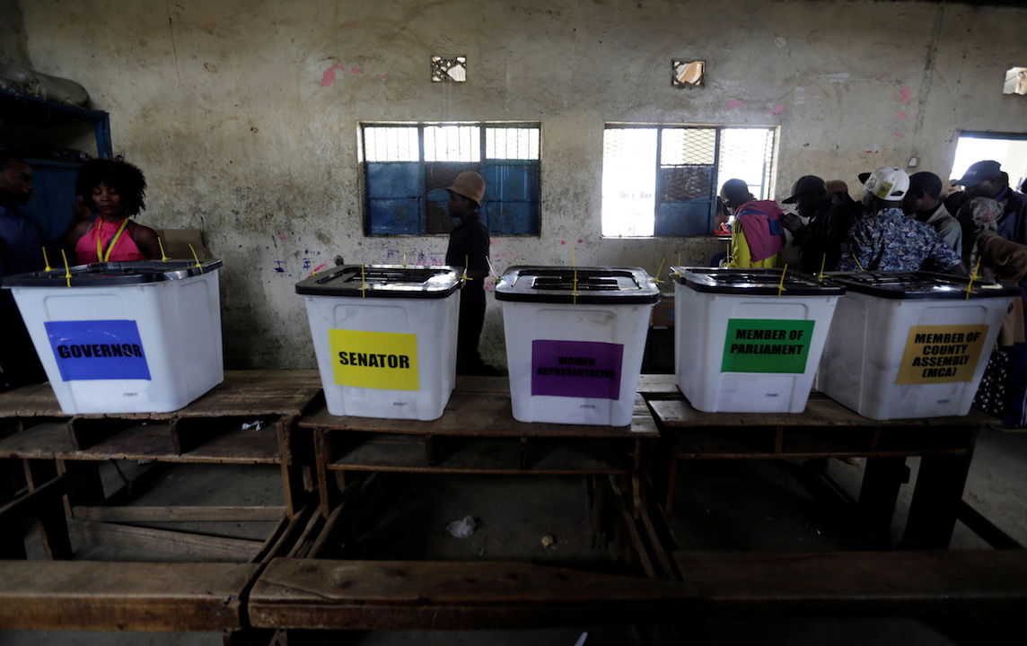 Election voting boxes are arranged inside a classroom used as a polling centre, during the Jubilee Party (JP) primary elections, in Nairobi, Kenya April 26, 2017.