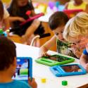 Students play with their iPads at the Steve Jobs school in Sneek