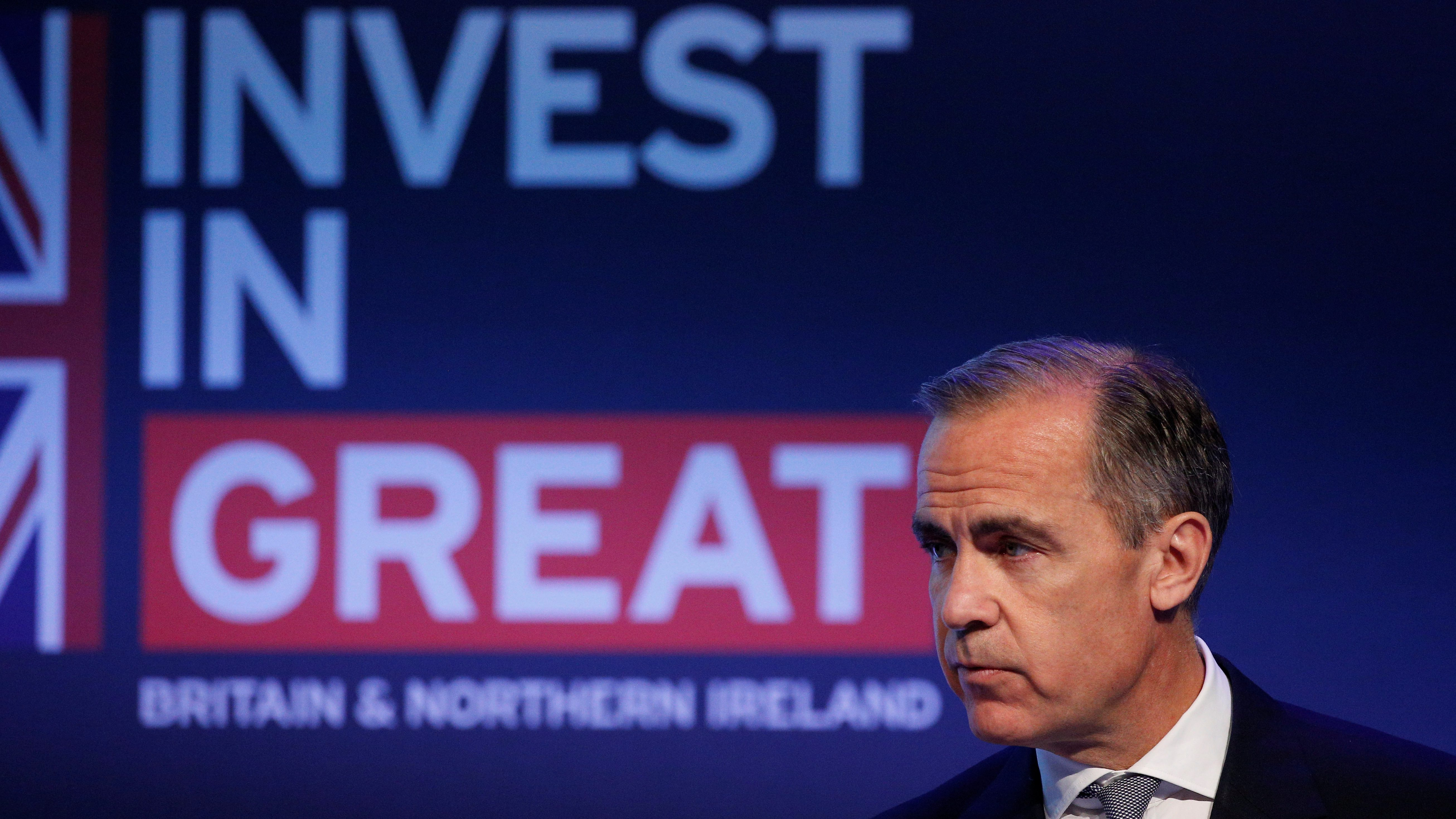 Governor of the Bank of England Mark Carney delivers a speech at the International Fintech Conference in London, Britain April 12, 2017.