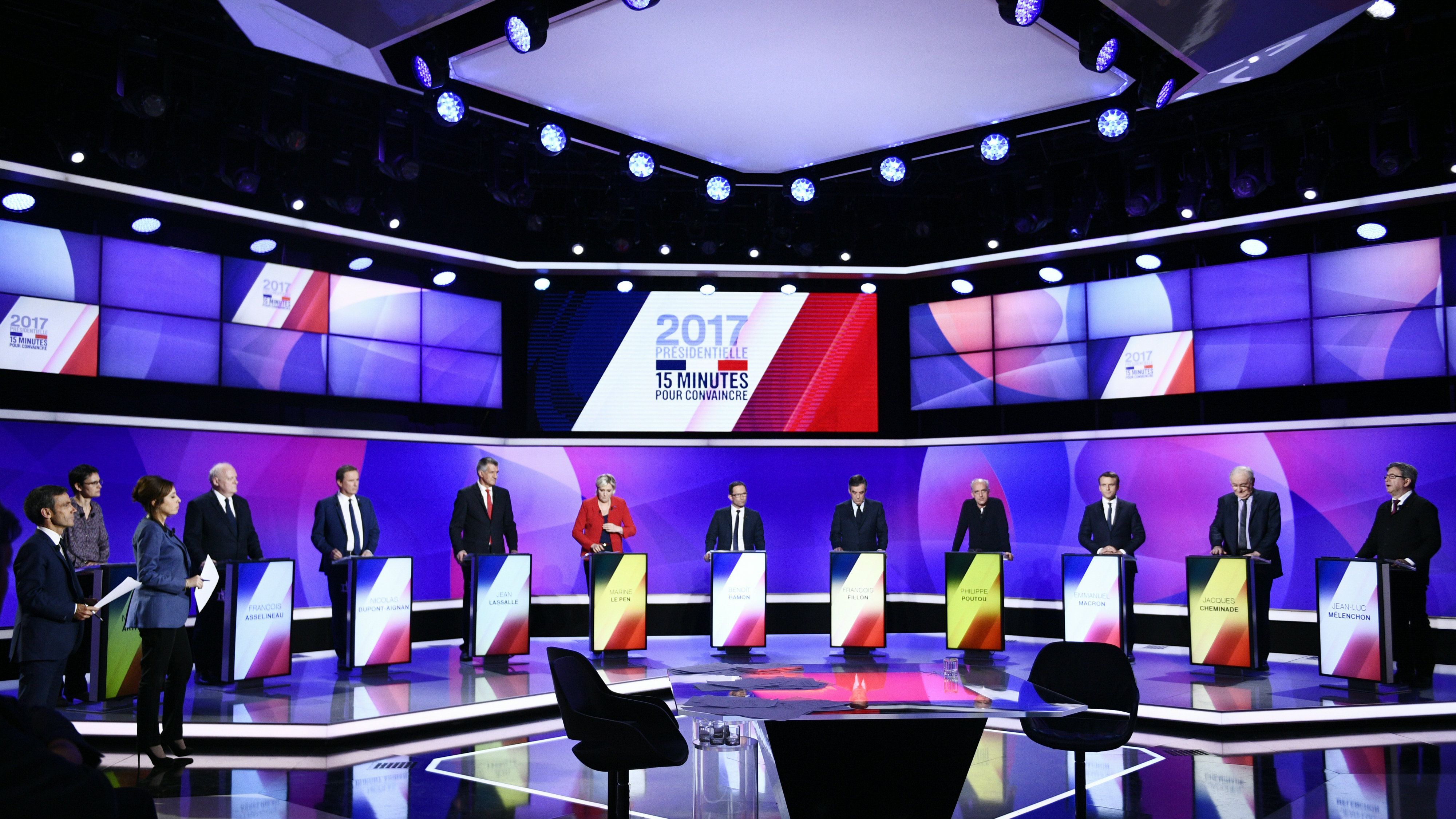 """The eleven French presidential election candidates take part in a special political television show entitled """"15min to Convince"""" at the studios of French Television channel France 2 in Saint-Cloud, near Paris, April 20, 2017. REUTERS/Martin Bureau/Pool"""