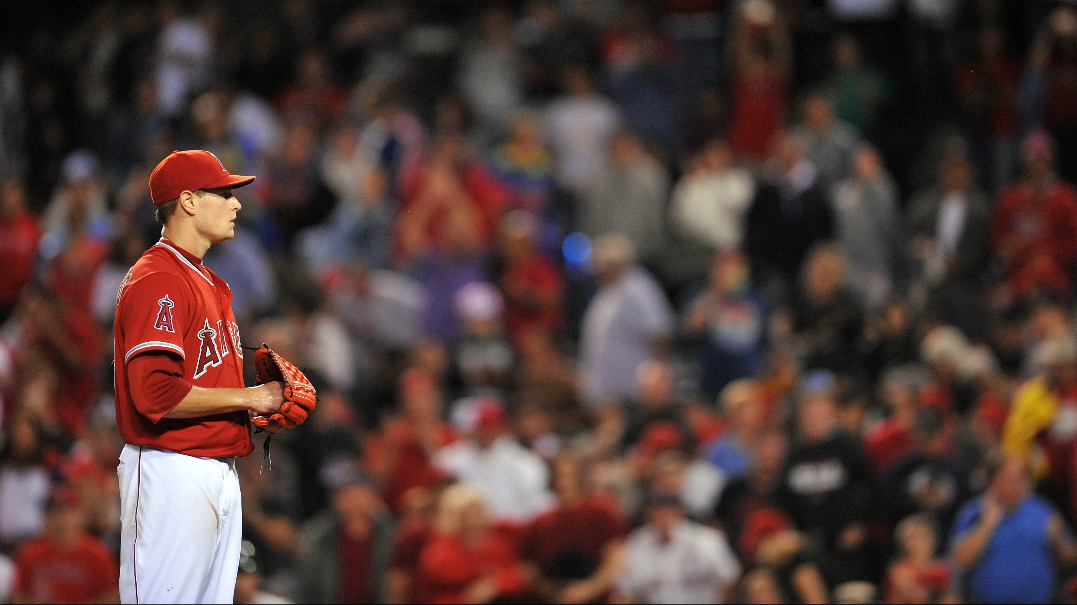 July 18, 2015; Anaheim, CA, USA; Los Angeles Angels starting pitcher Garrett Richards (43) before throwing in the ninth inning against the Boston Red Sox at Angel Stadium of Anaheim.