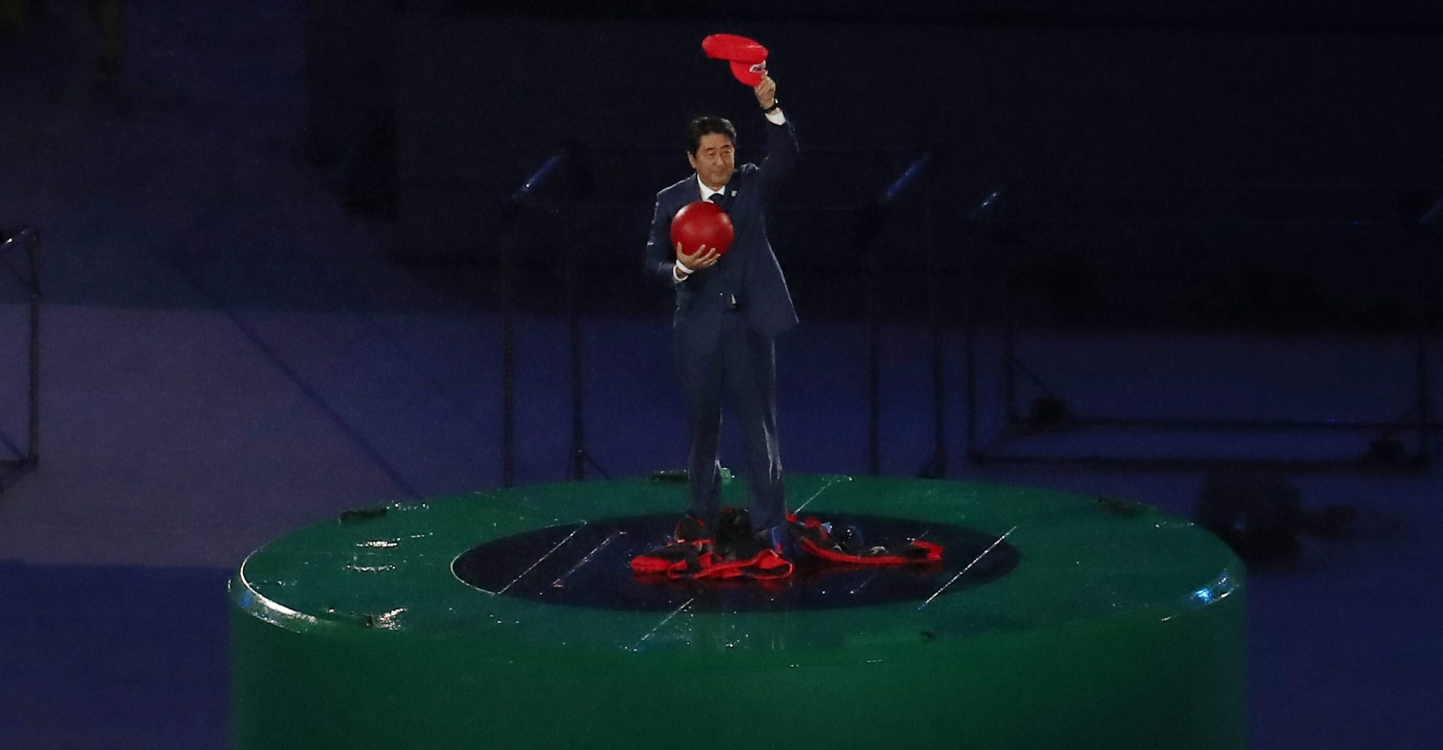 Japanese Prime Minister Shinzo Abe takes part in the closing ceremony of the 31st Summer Olympic Games at the Maracana Stadium in Rio de Janeiro, Brazil, 21 August 2016.