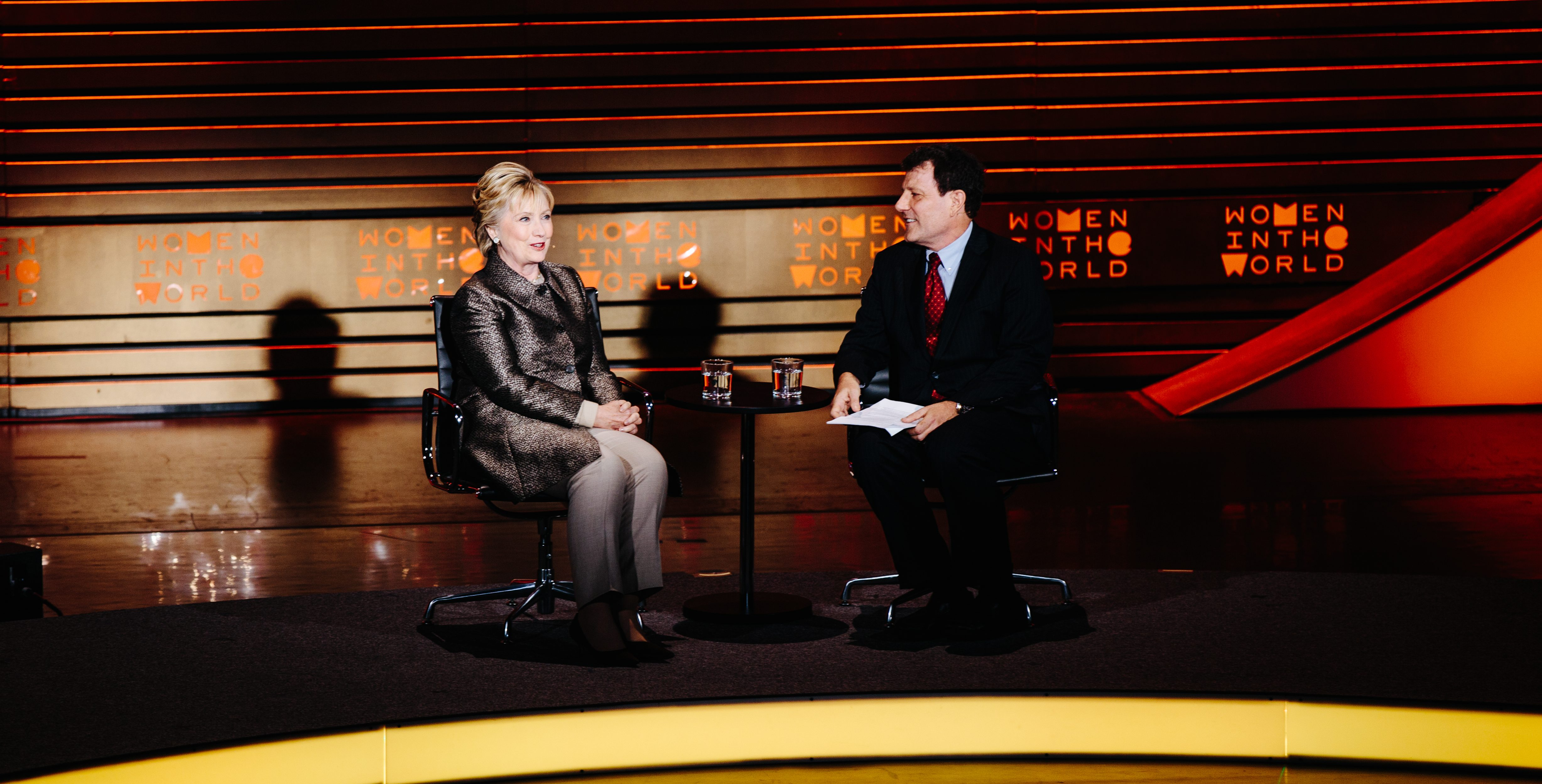 Hillary Clinton participates in a conversation with journalist Nicholas Kristof during a session of the Women in the World Summit in New York, USA, 6 April 2017.