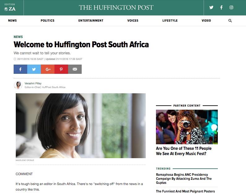 Huffington Post South Africa editor Verashni PIllay resigns after fake blog on denying white men franchise