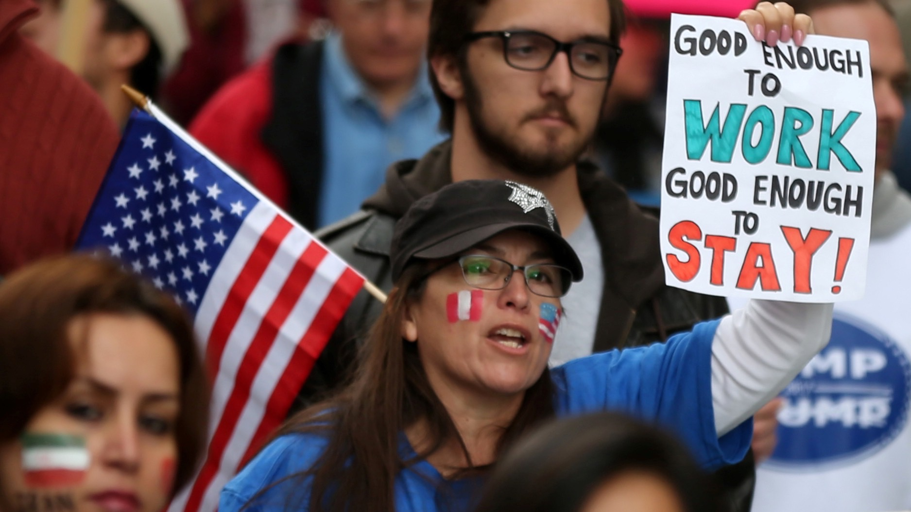 People participate in a protest march calling for human rights and dignity for immigrants, in Los Angeles, February 18, 2017. REUTERS/Lucy Nicholson - RTSZBEN