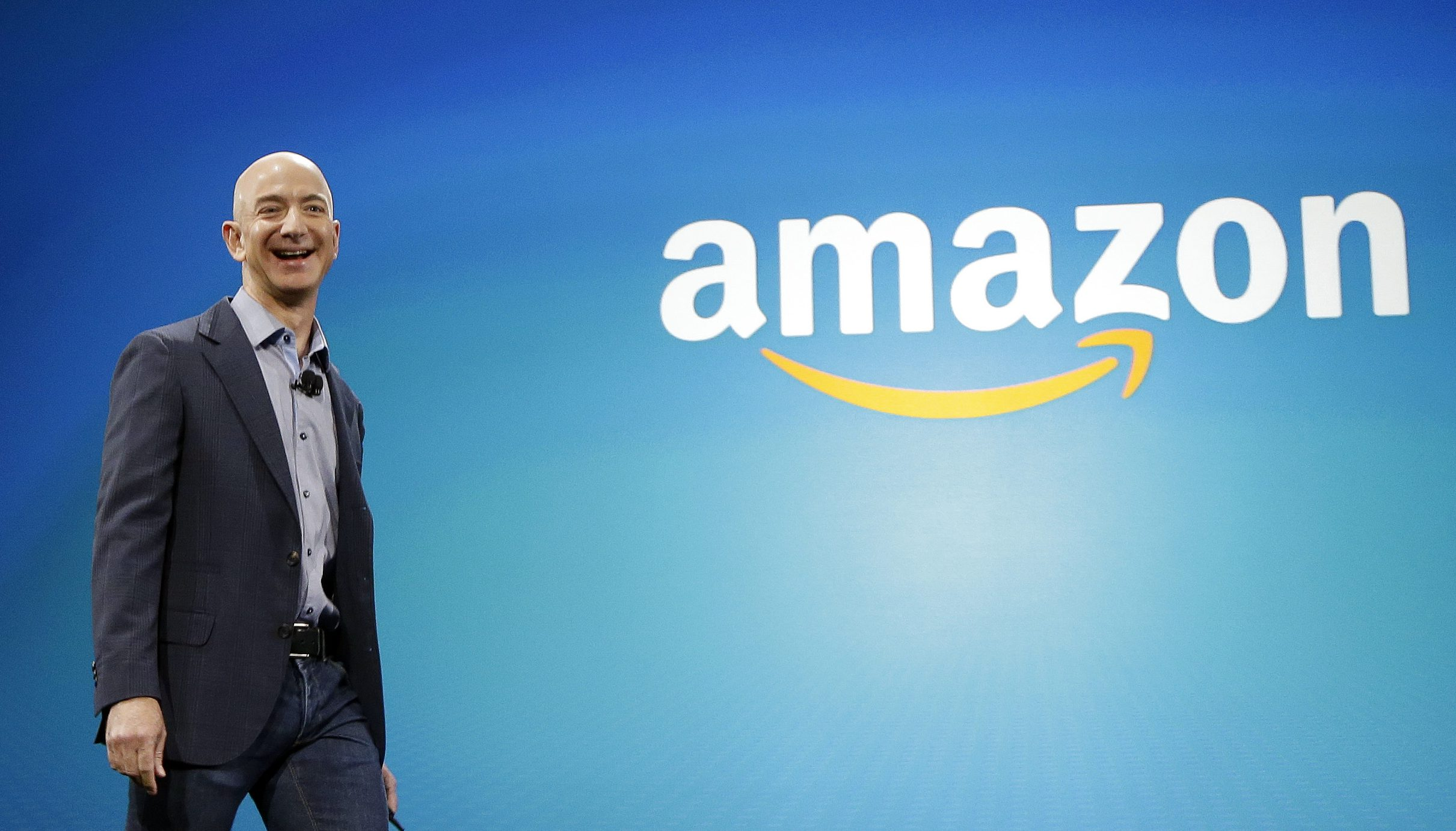 In this June 16, 2014, file photo, Amazon CEO Jeff Bezos walks onstage for the launch of the new Amazon Fire Phone, in Seattle. Bezos offered a glimpse of his vision for the future during an interview on May 31, 2016, at the Code Conference in Rancho Palos Verdes, Calif.