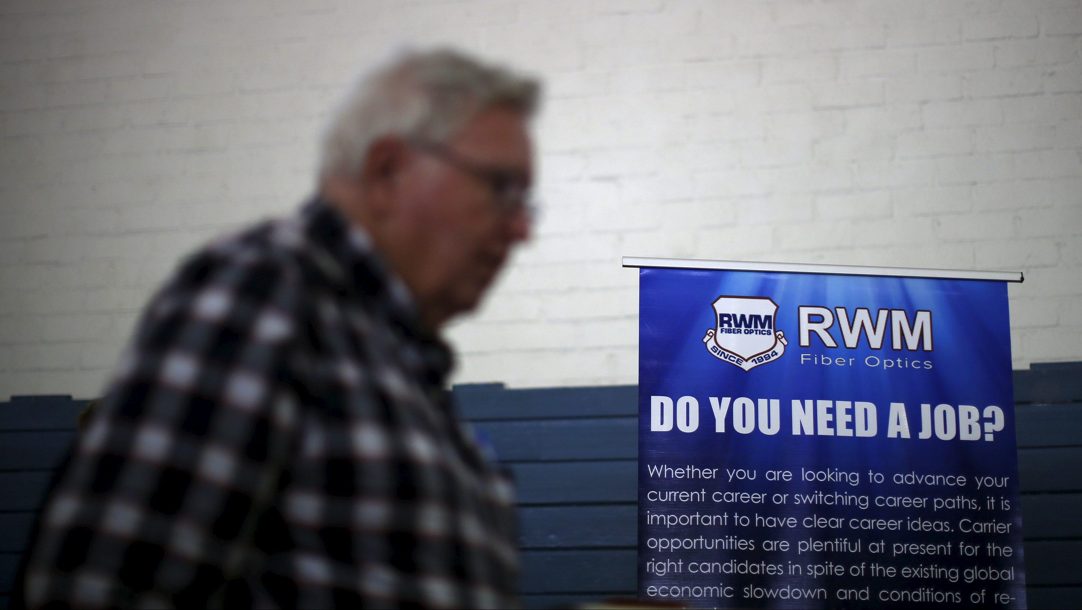 A job seeker at a veterans' job fair in California