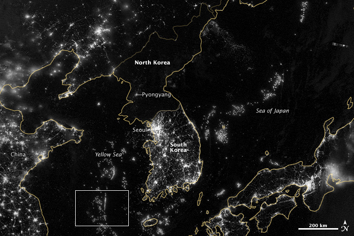 South Korea and North Korea at night.