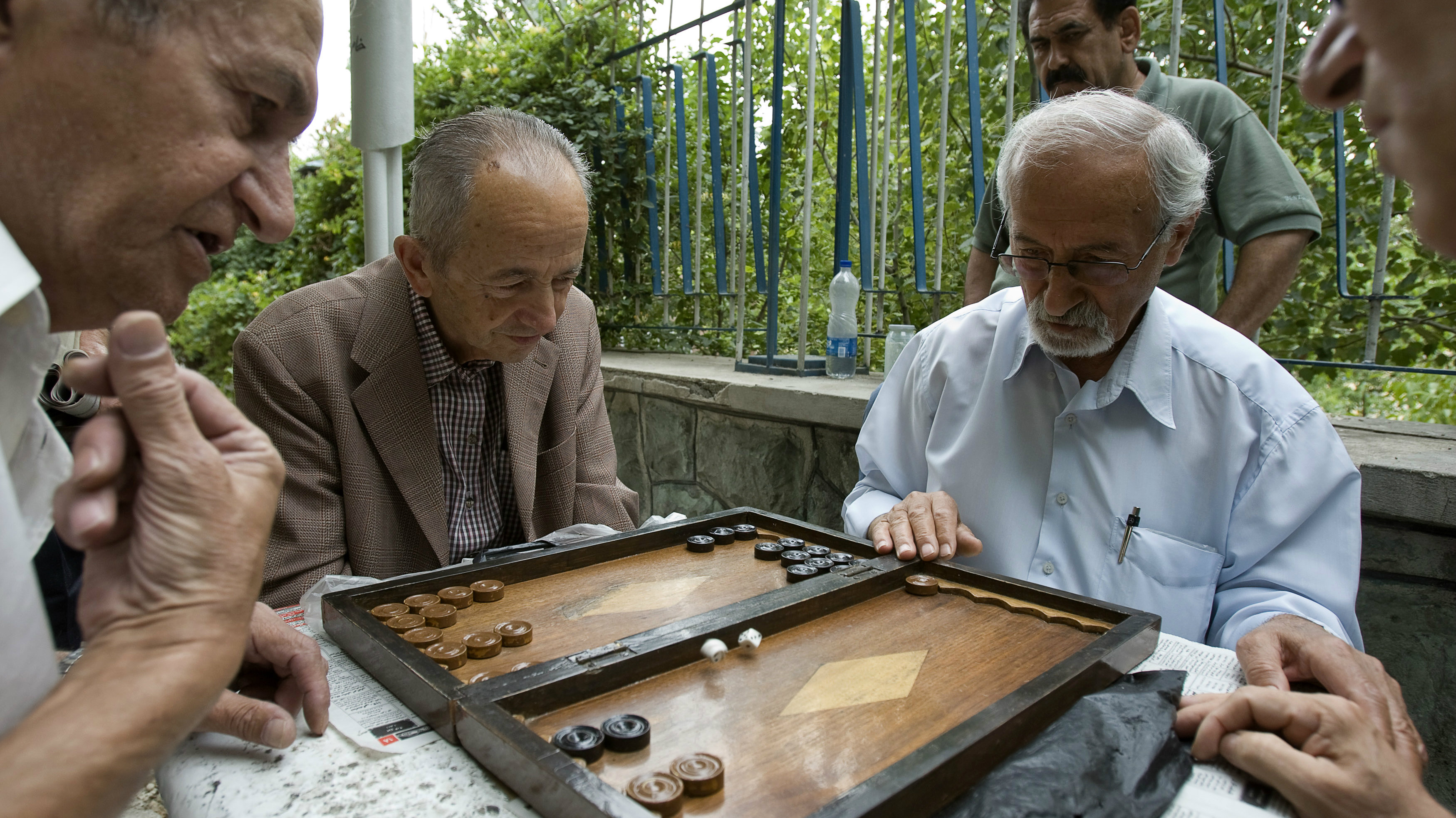 Men play backgammon in a park in Tehran June 9, 2009. Iranians vote on Friday in the 10th presidential election since the 1979 Islamic revolution which toppled the U.S.-backed Shah. Three decades after the revolution, Reuters invited some older Iranians who witnessed the Shah's overthrow to look back at the changes they have lived through. To match feature IRAN-ELECTION/REVOLUTION REUTERSMen play backgammon in a park in Tehran June 9, 2009. Iranians vote on Friday in the 10th presidential election since the 1979 Islamic revolution which toppled the U.S.-backed Shah. Three decades after the revolution, Reuters invited some older Iranians who witnessed the Shah's overthrow to look back at the changes they have lived through. To match feature IRAN-ELECTION/REVOLUTION REUTERS/Raheb Homavandi