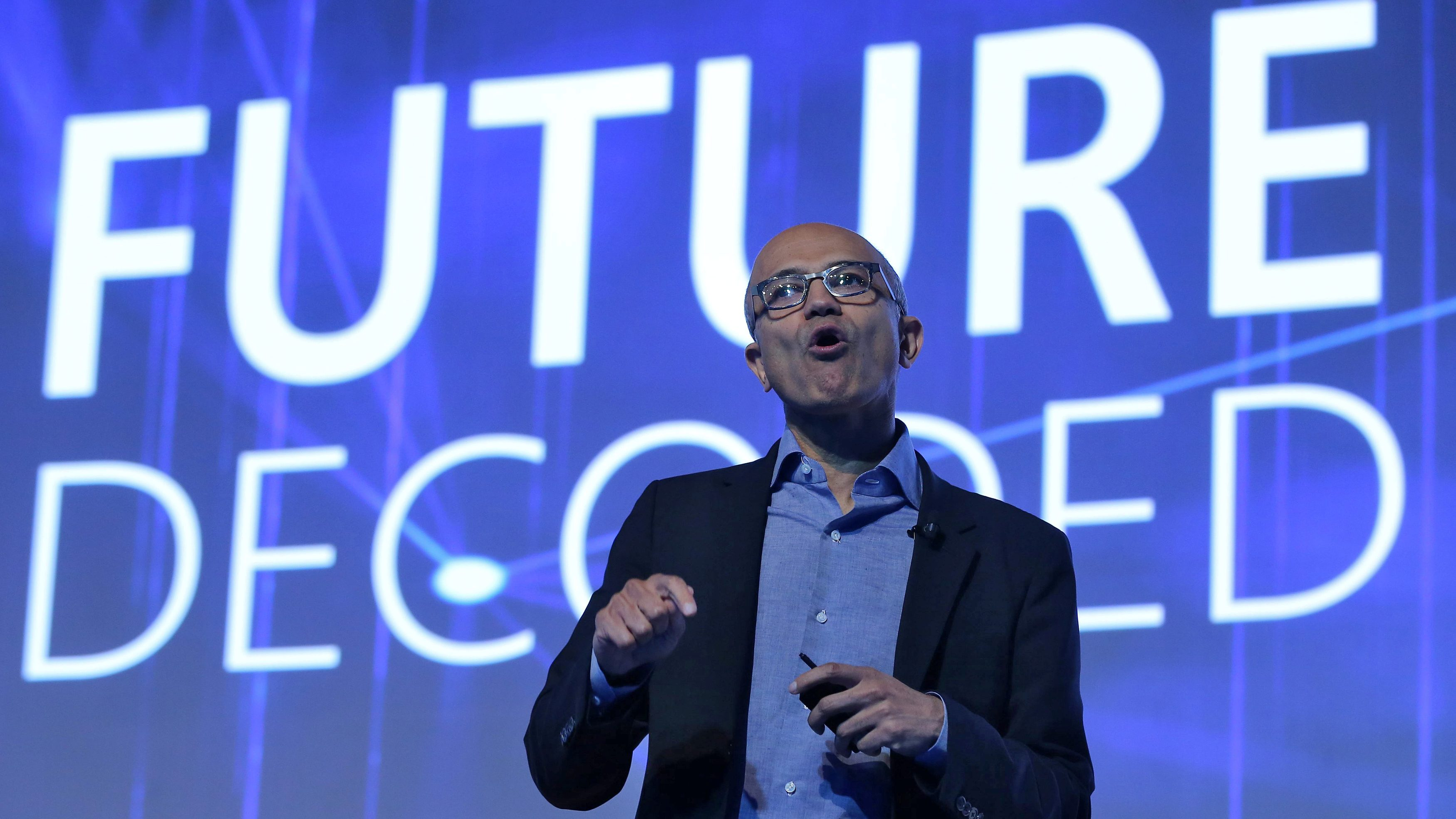 Microsoft CEO Satya Nadella speaks at the Future Decoded conference in Mumbai, India, February 22, 2017.