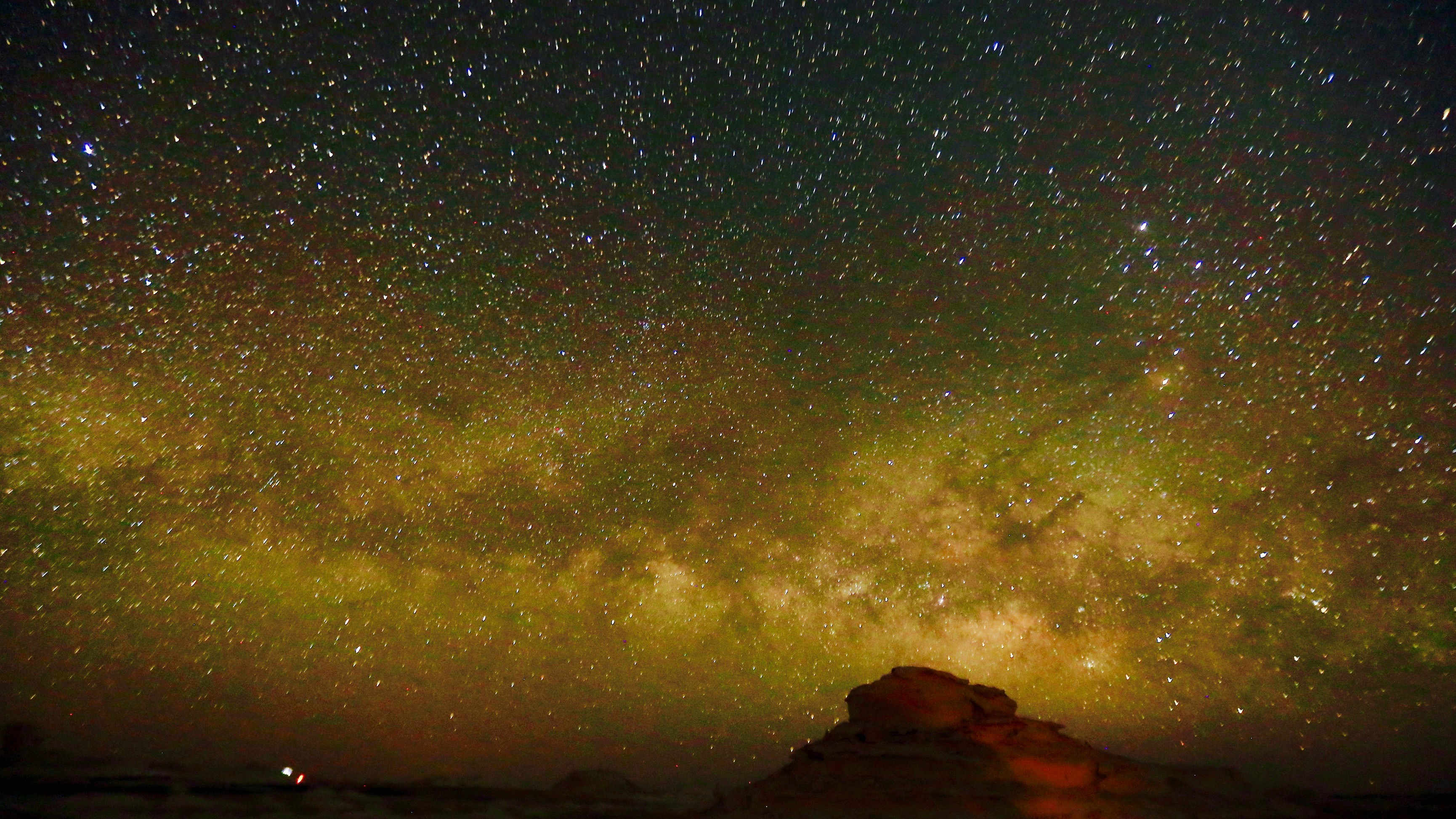 Milky Way at night over the desert.