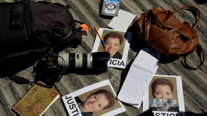 a protest against the murder of the Mexican journalist Miroslava Breach