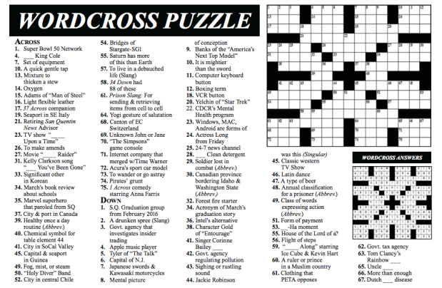San Quentin State Prison Publishes A Crossword Puzzle Written By An