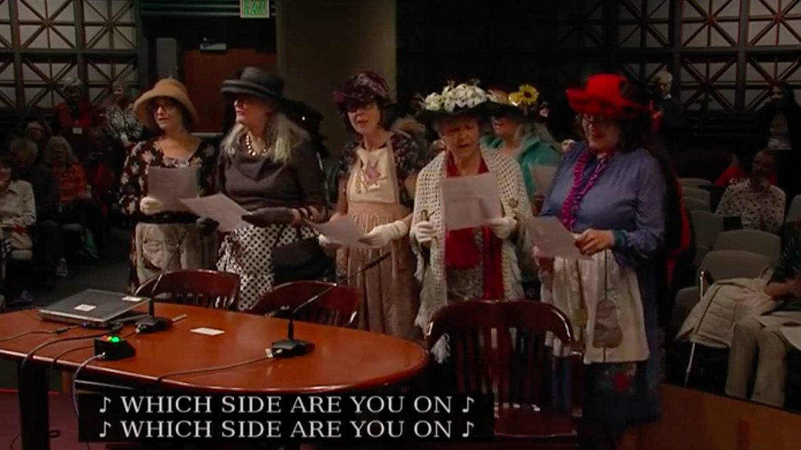 The Raging Grannies sing at Portland City Council meeting.