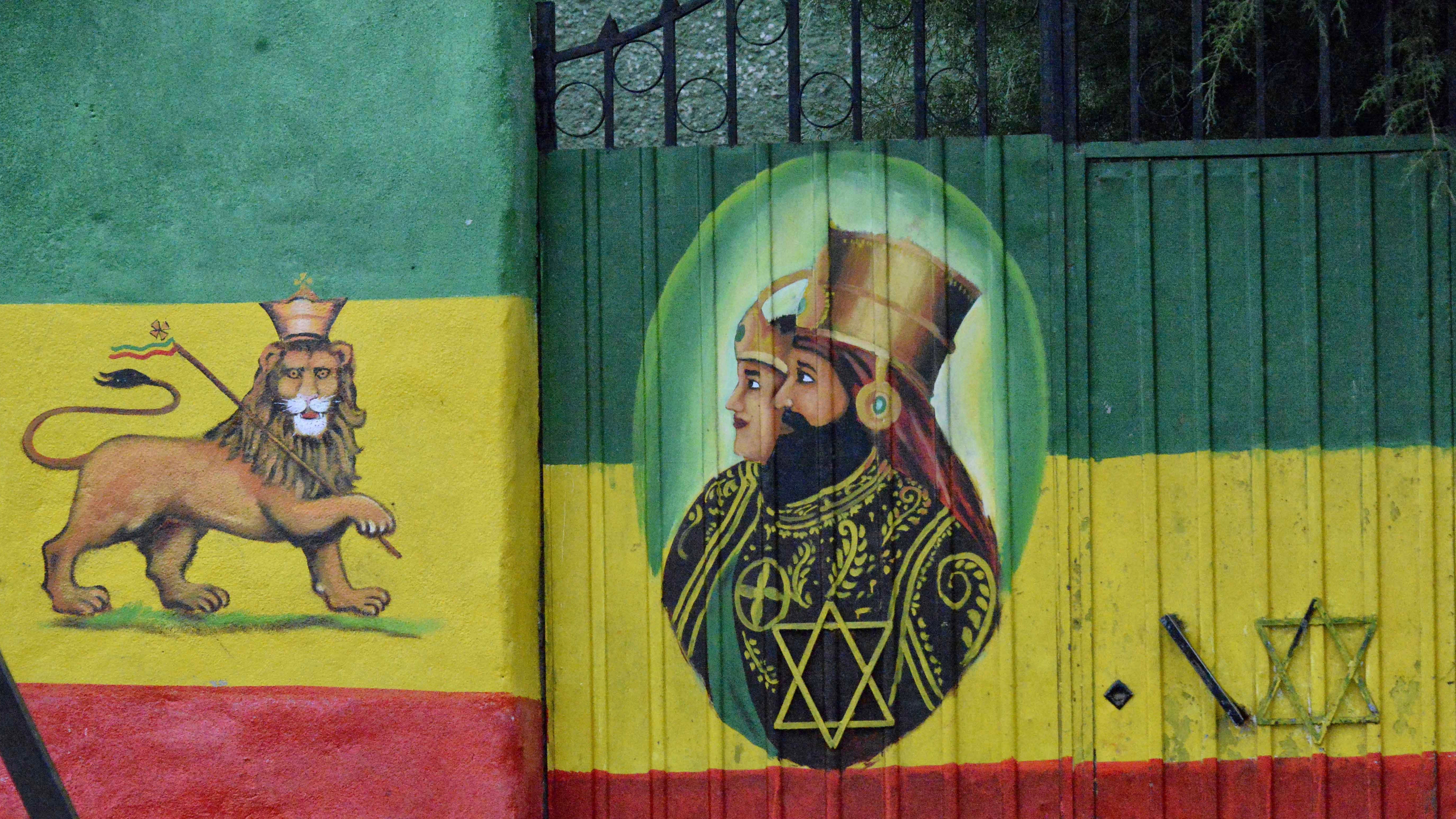 Rastafarian street art in Ethiopia.
