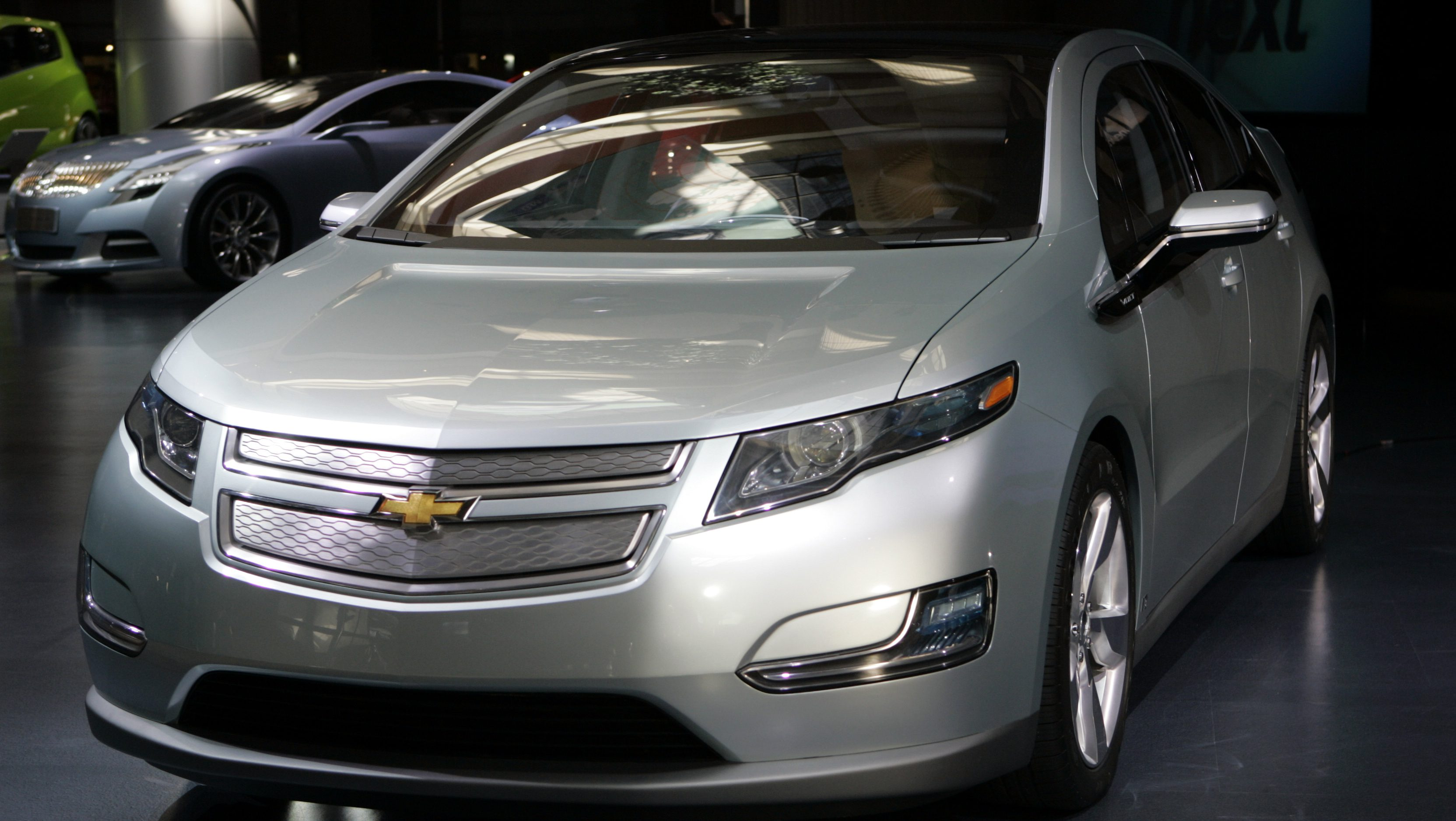 The Chevrolet Volt is displayed at General Motors' World Headquarters in Detroit