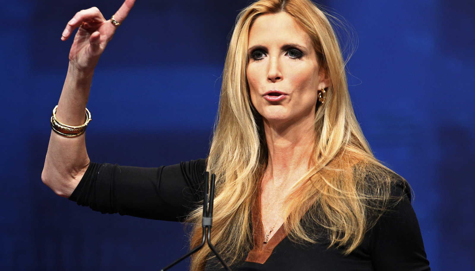 Political commentator and author Ann Coulter addresses the American Conservative Union's annual Conservative Political Action Conference (CPAC) in Washington, February 10, 2012. REUTERS/Jim Bourg (UNITED STATES - Tags: POLITICS) - RTR2XLXB