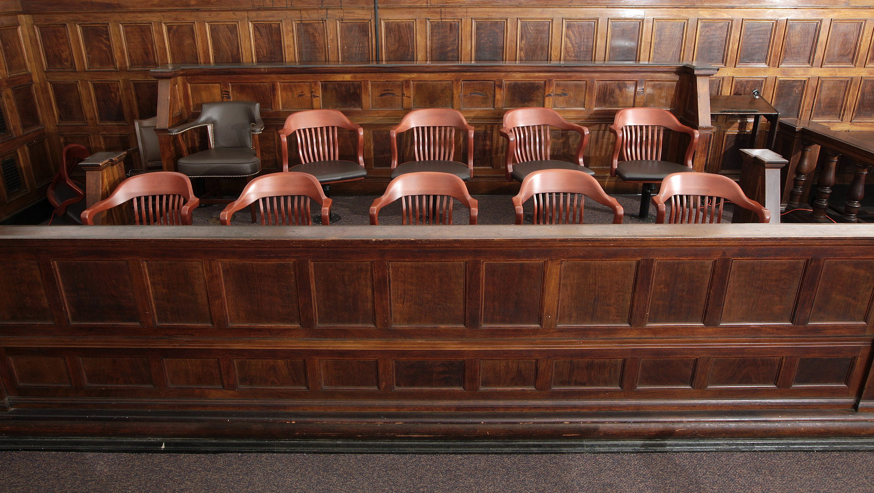 A view of the jury box in court room 422 of the New York Supreme Court