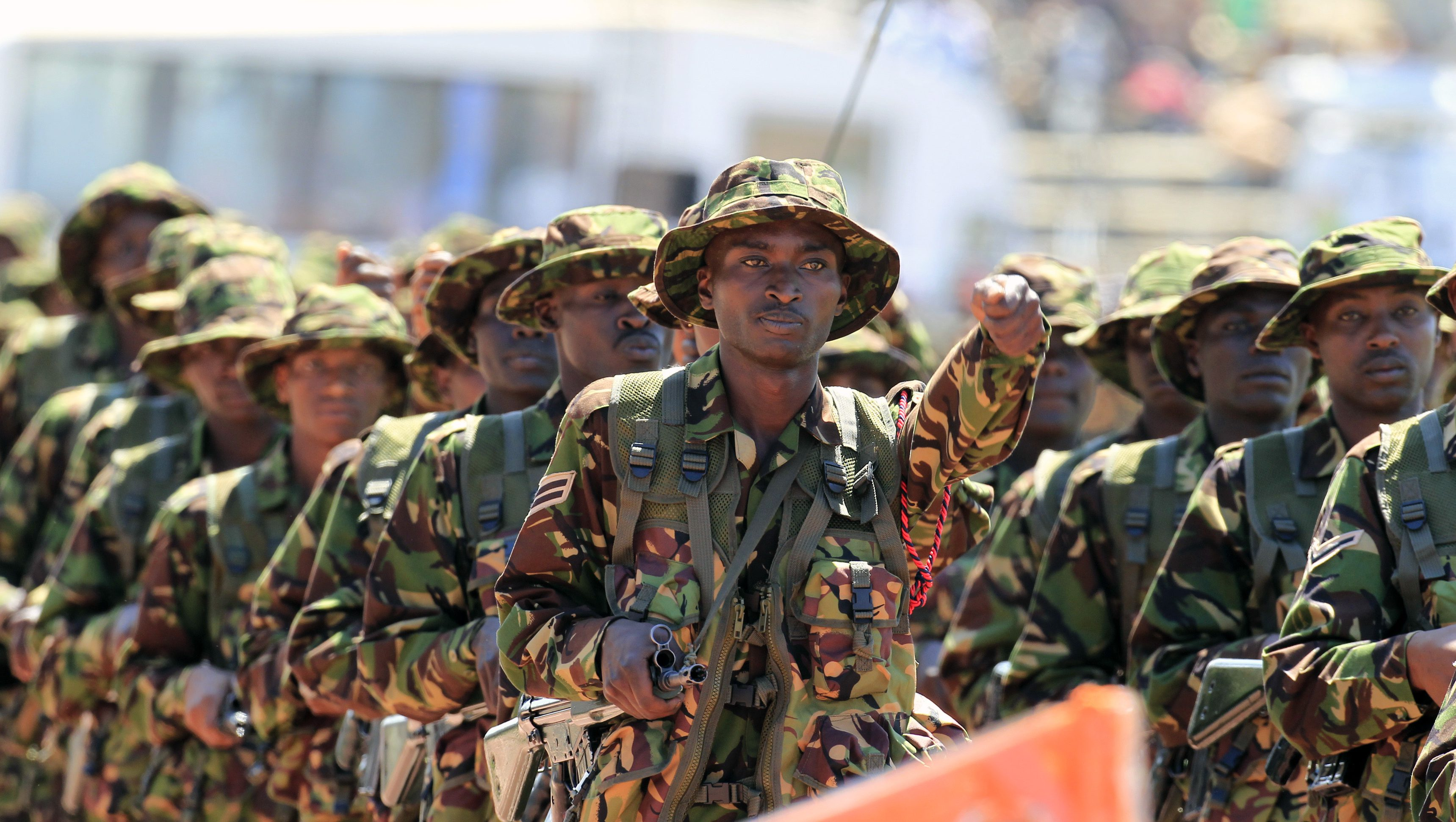 Kenyan soldiers march during celebrations to mark Kenya's Madaraka Day, the 51st anniversary of the country's independence, at Nyayo national stadium in Nairobi, June 1, 2014.