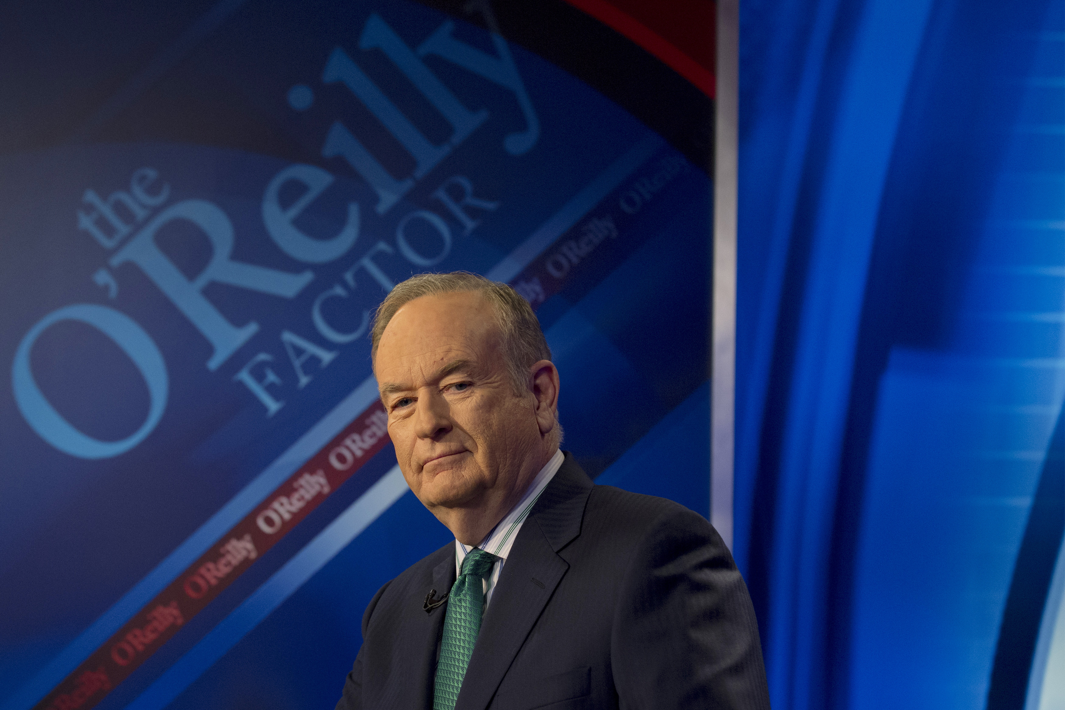 "Fox News Channel host Bill O'Reilly poses on the set of his show ""The O'Reilly Factor"" in New York"