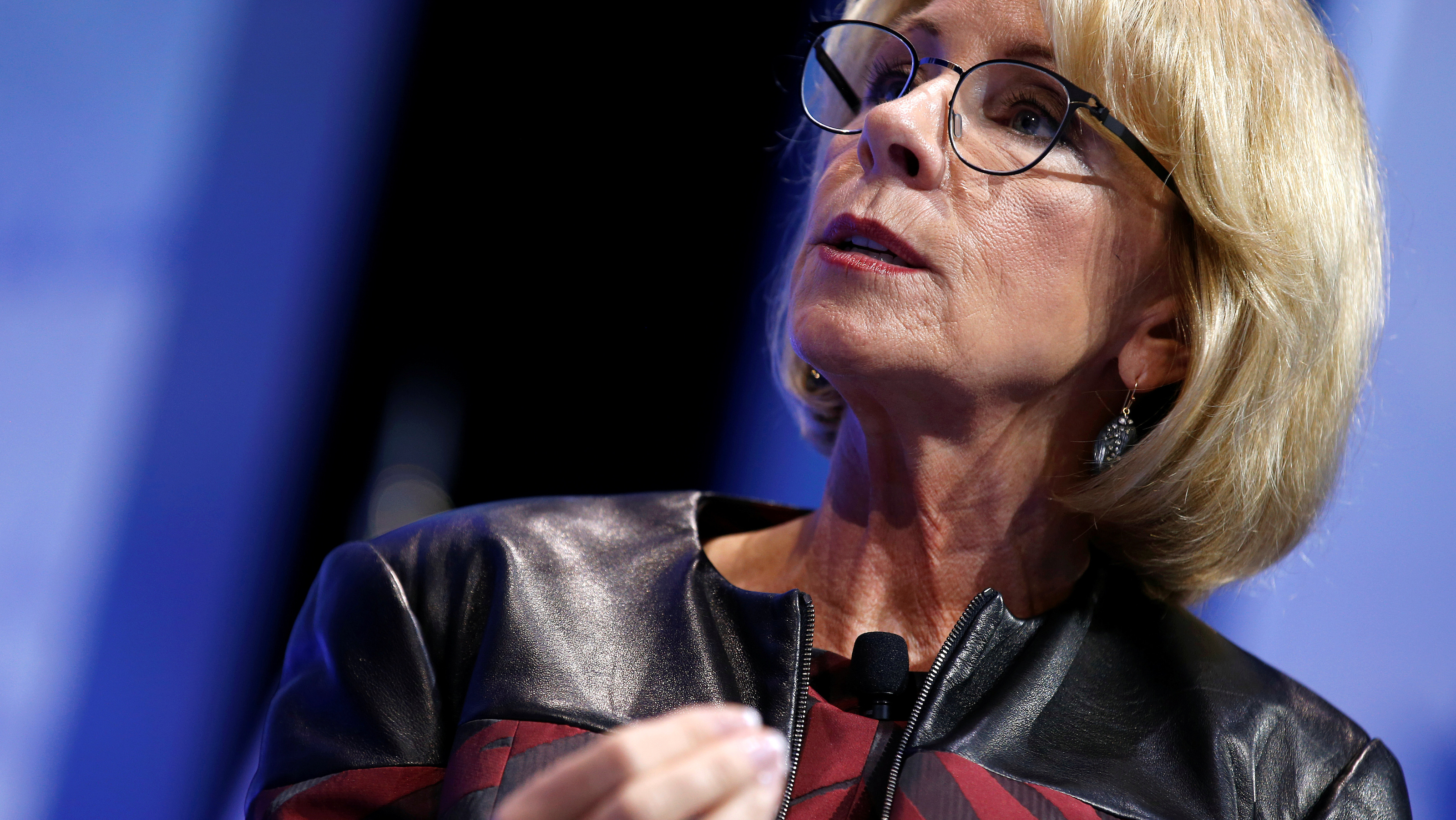 U.S. Secretary of Education Betsy DeVos speaks at the Conservative Political Action Conference (CPAC) in National Harbor, Maryland, U.S., February 23, 2017.      REUTERS/Joshua Roberts - RTS101RZ