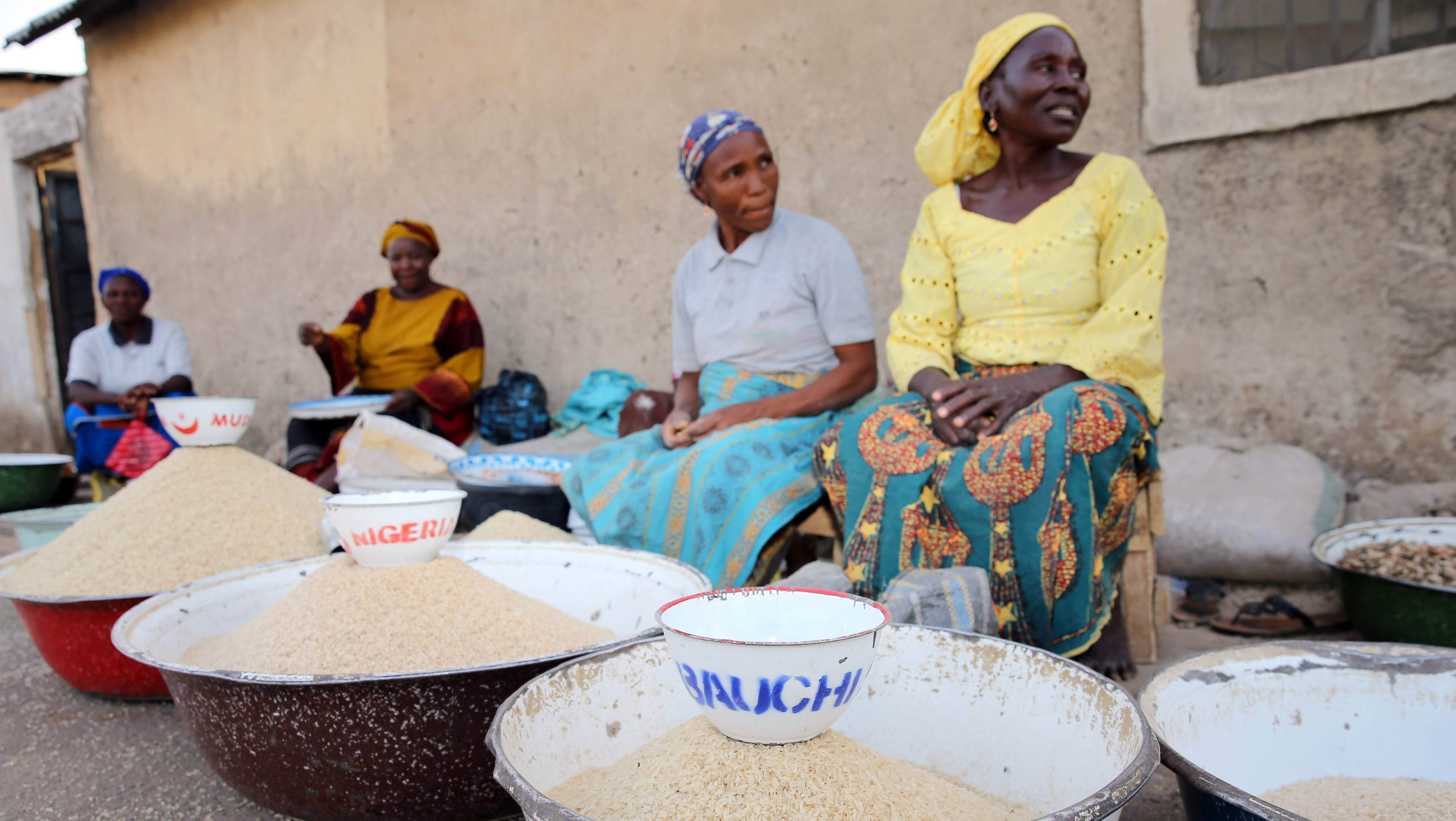 Women selling rice are seen at a local market in Bauchi, Nigeria March 2, 2017. Picture taken March 2, 2017.