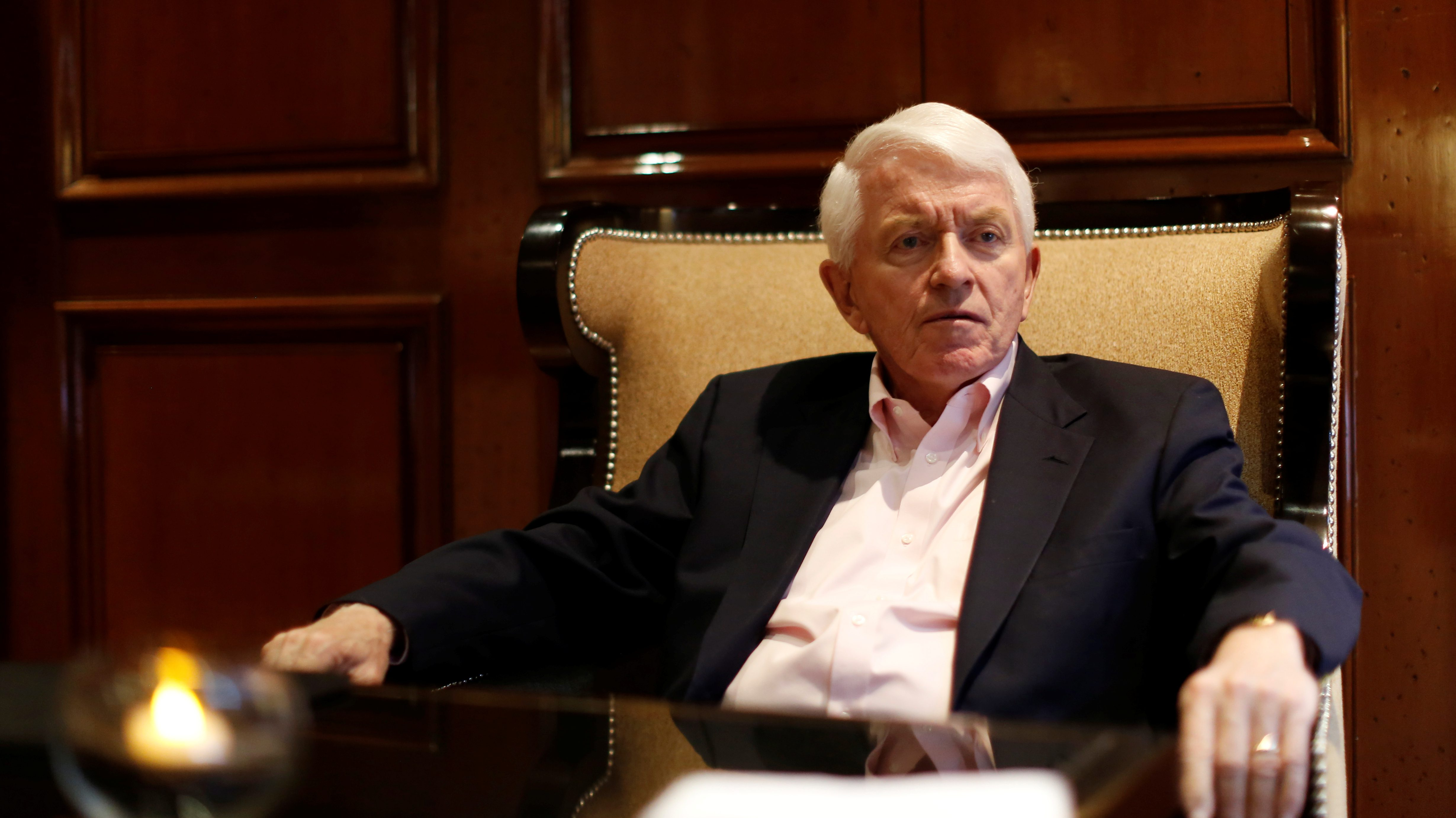 Tom Donohue, President of U.S. chamber of Commerce, gestures during an interview with Reuters in Mexico City, Mexico April 23, 2017.  REUTERS/Carlos Jasso - RTS13MD6