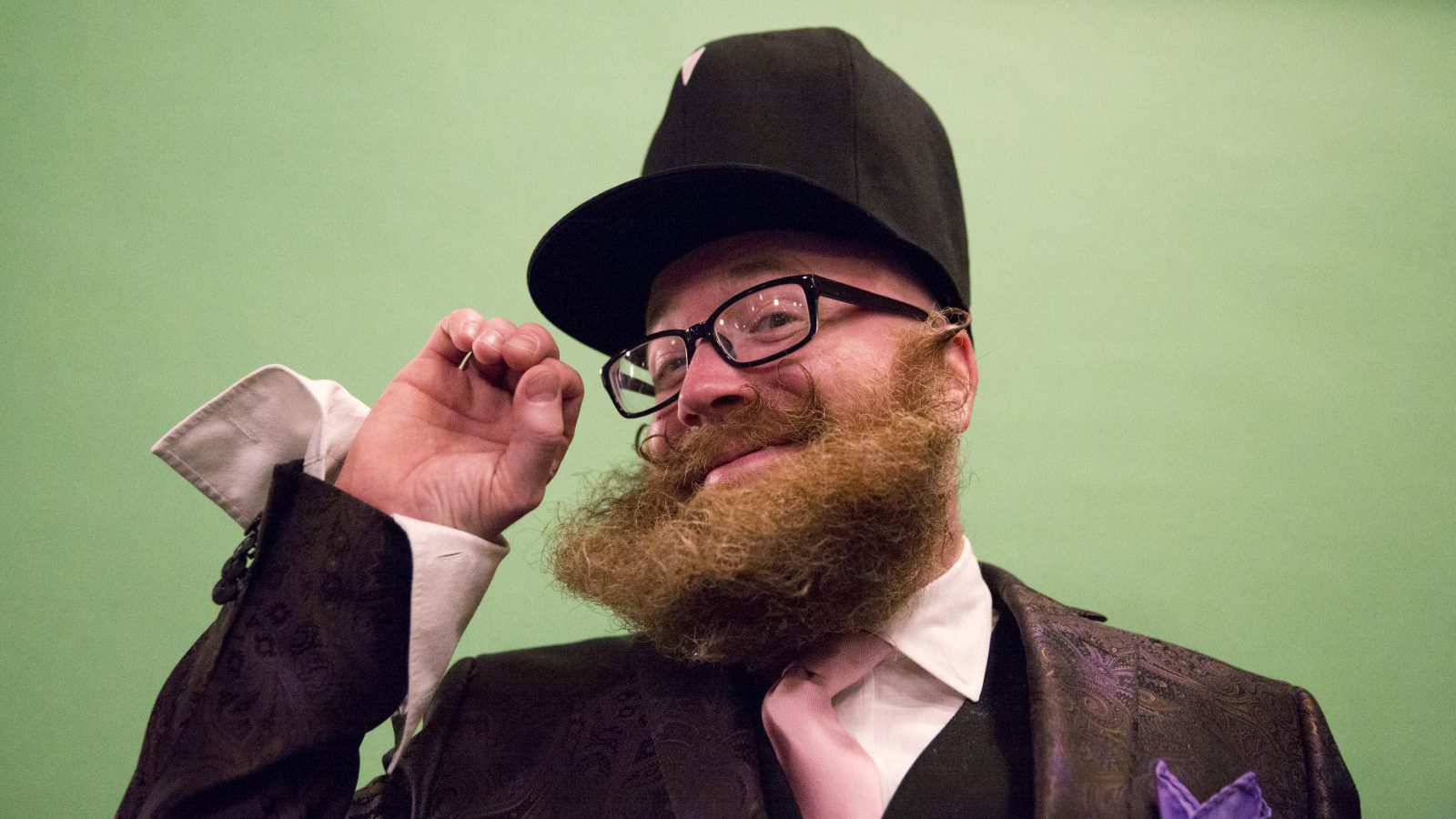 Adam Falandys from Massachusetts poses for a photograph at the 2015 Just For Men National Beard & Moustache Championships at the Kings Theater in the Brooklyn borough of New York City, November 7, 2015. Hundreds of facial hair enthusiasts attended the event competing in 18 different categories.