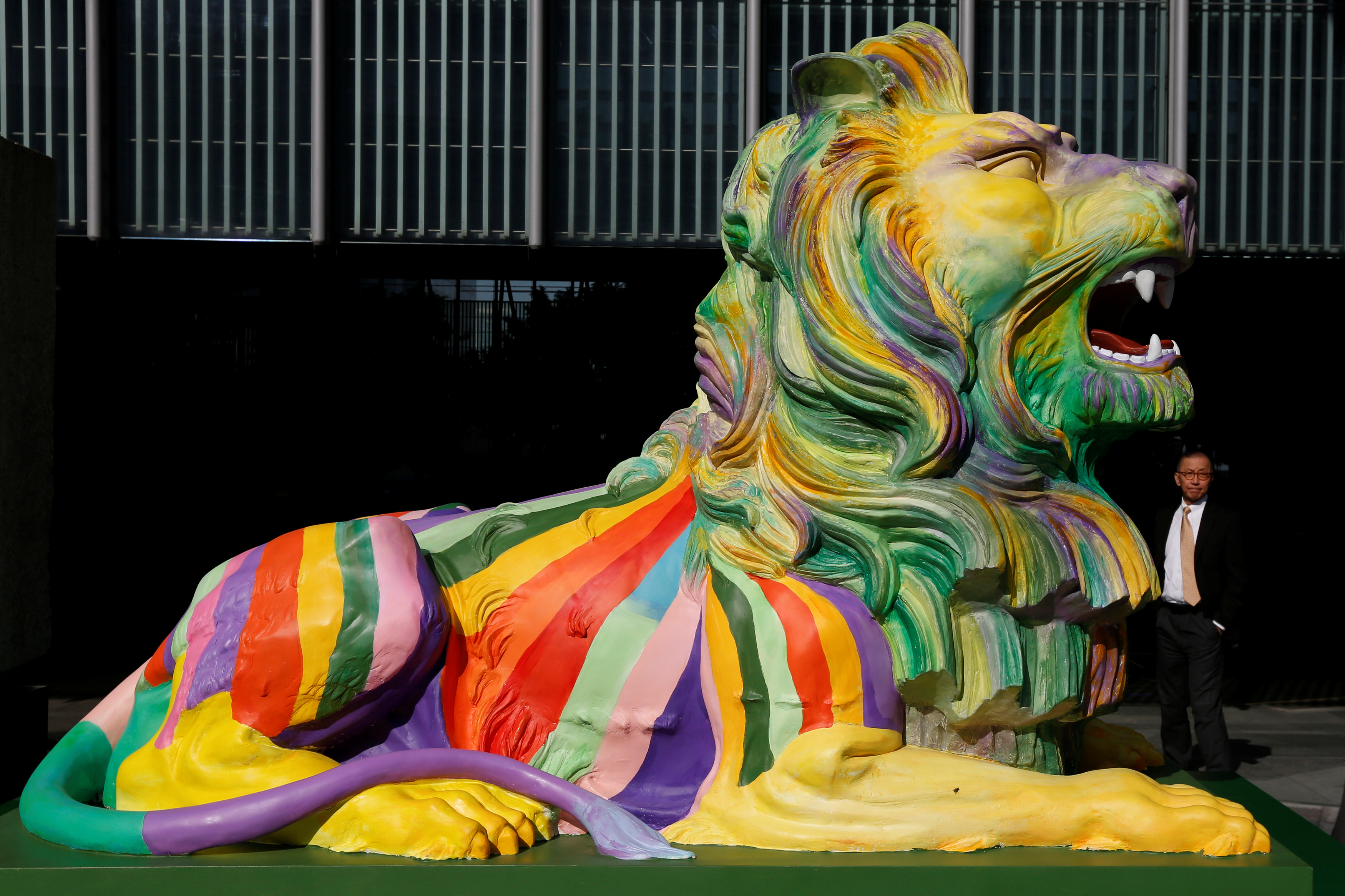 """""""Stephen"""", one of HSBC Hong Kong's two rainbow lions"""