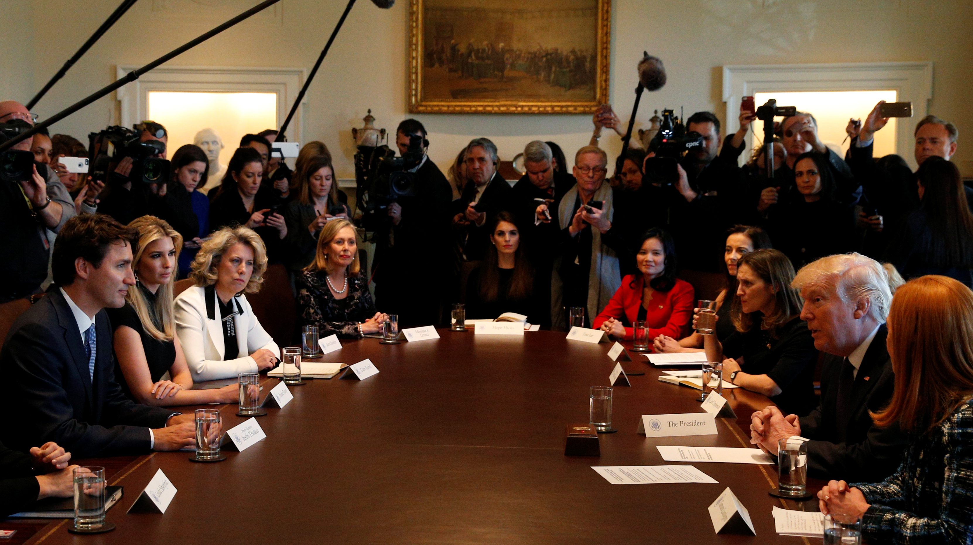 Business leaders, Ivanka Trump and Canadian Prime Minister Justin Trudeau  take part in U.S. President Donald Trump's roundtable discussion on the advancement of women entrepreneurs and business leaders at the White House.