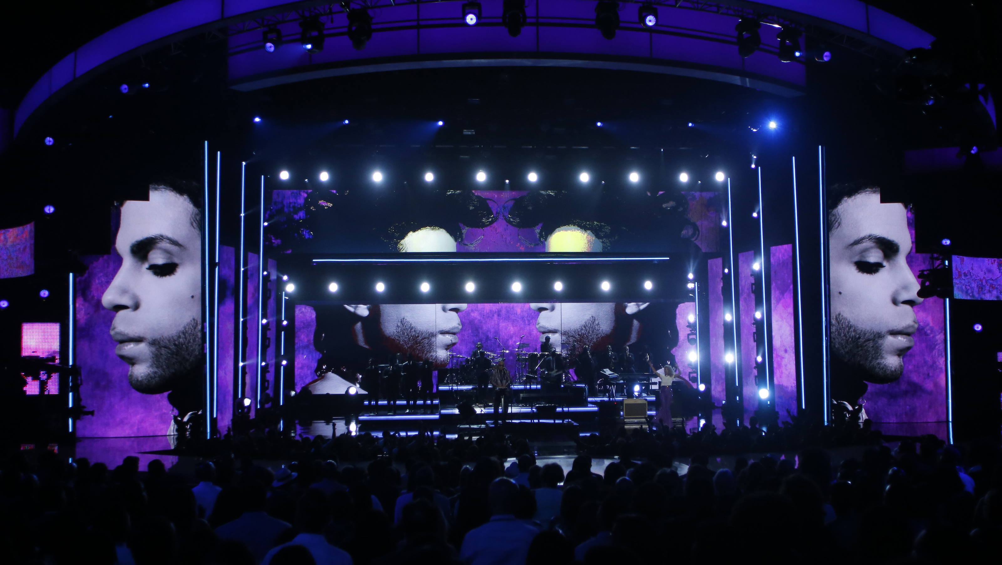 Stevie Wonder performs a medley during a tribute to the late singer Prince at the 2016 BET Awards in Los Angeles