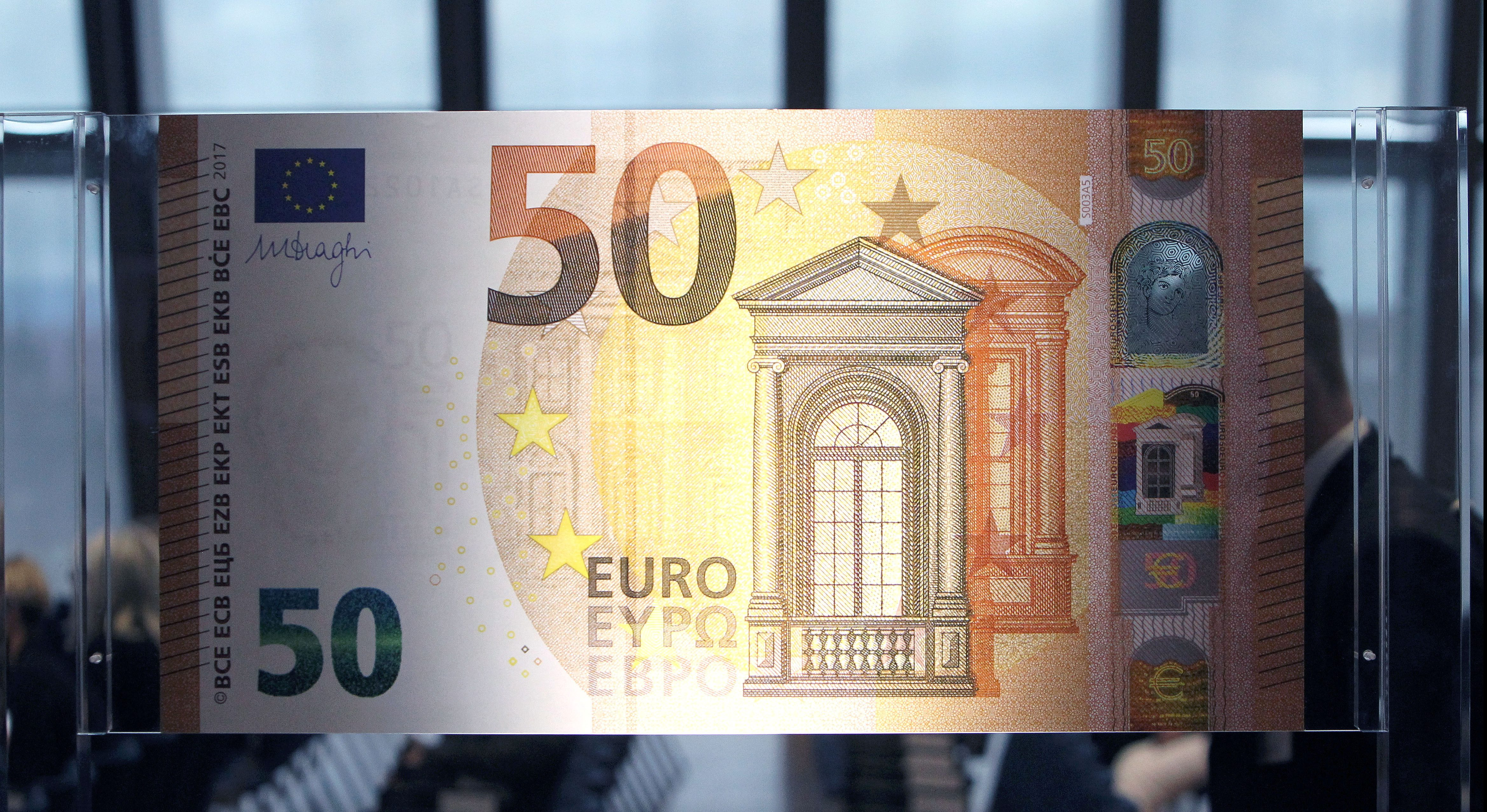 The European Central Bank (ECB) presents the new 50 euro note at the bank's headquarters in Frankfurt, Germany, July 5, 2016.