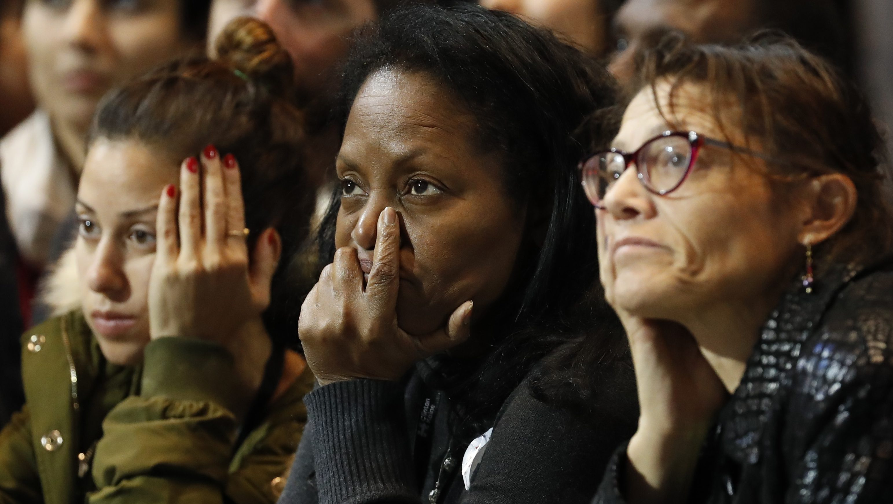 Stunned, anxious supporters of Hillary Clinton on election night