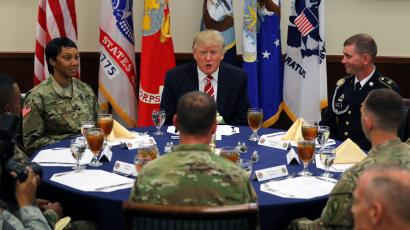 U.S. President Donald Trump attends a lunch with members of the U.S. military during a visit at the U.S. Central Command (CENTCOM) and Special Operations Command (SOCOM) headquarters in Tampa