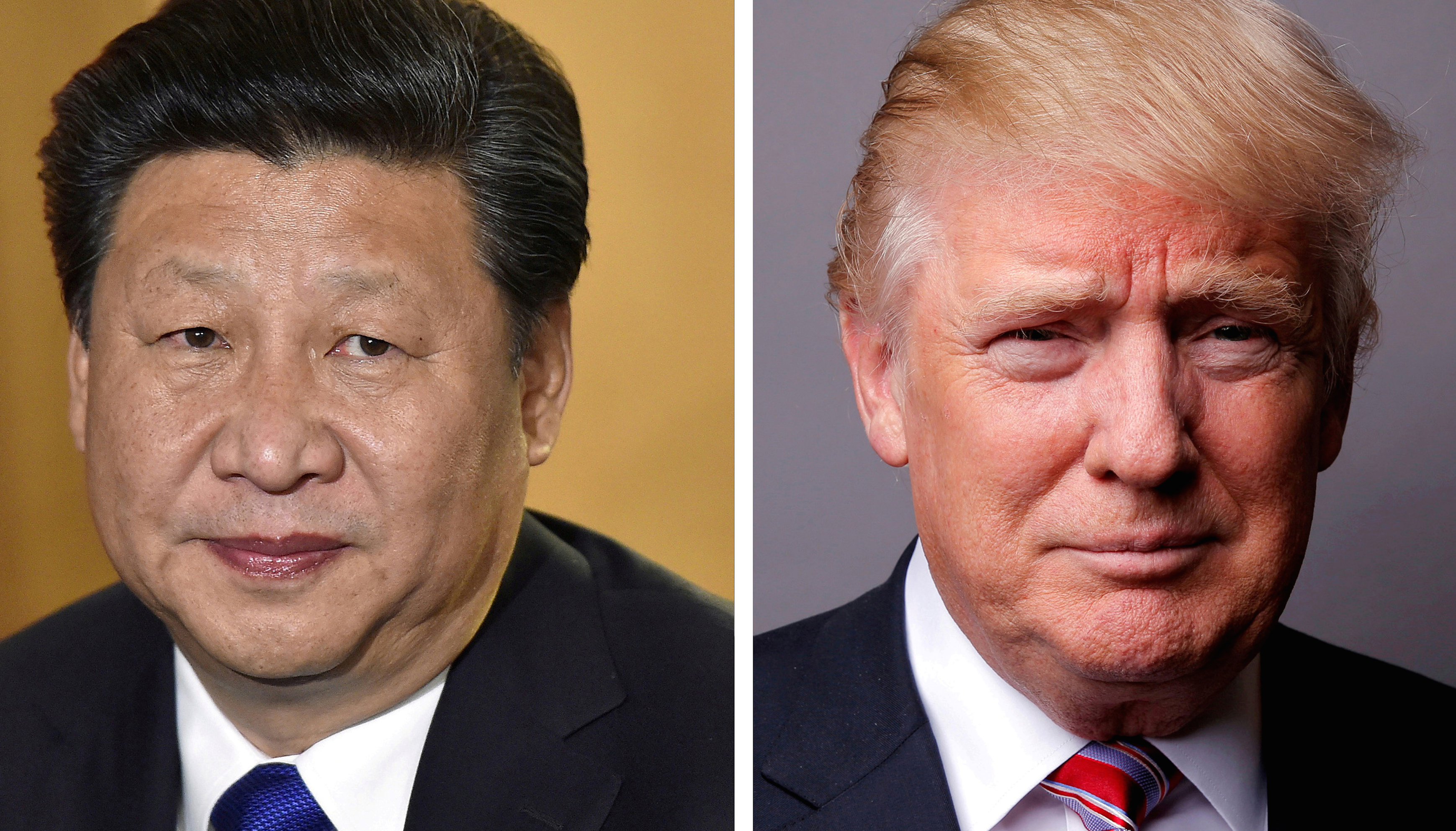A combination of file photos showing Chinese President Xi Jinping (L) at London's Heathrow Airport, October 19, 2015 and U.S. President Donald Trump posing for a photo in New York City, U.S., May 17, 2016.