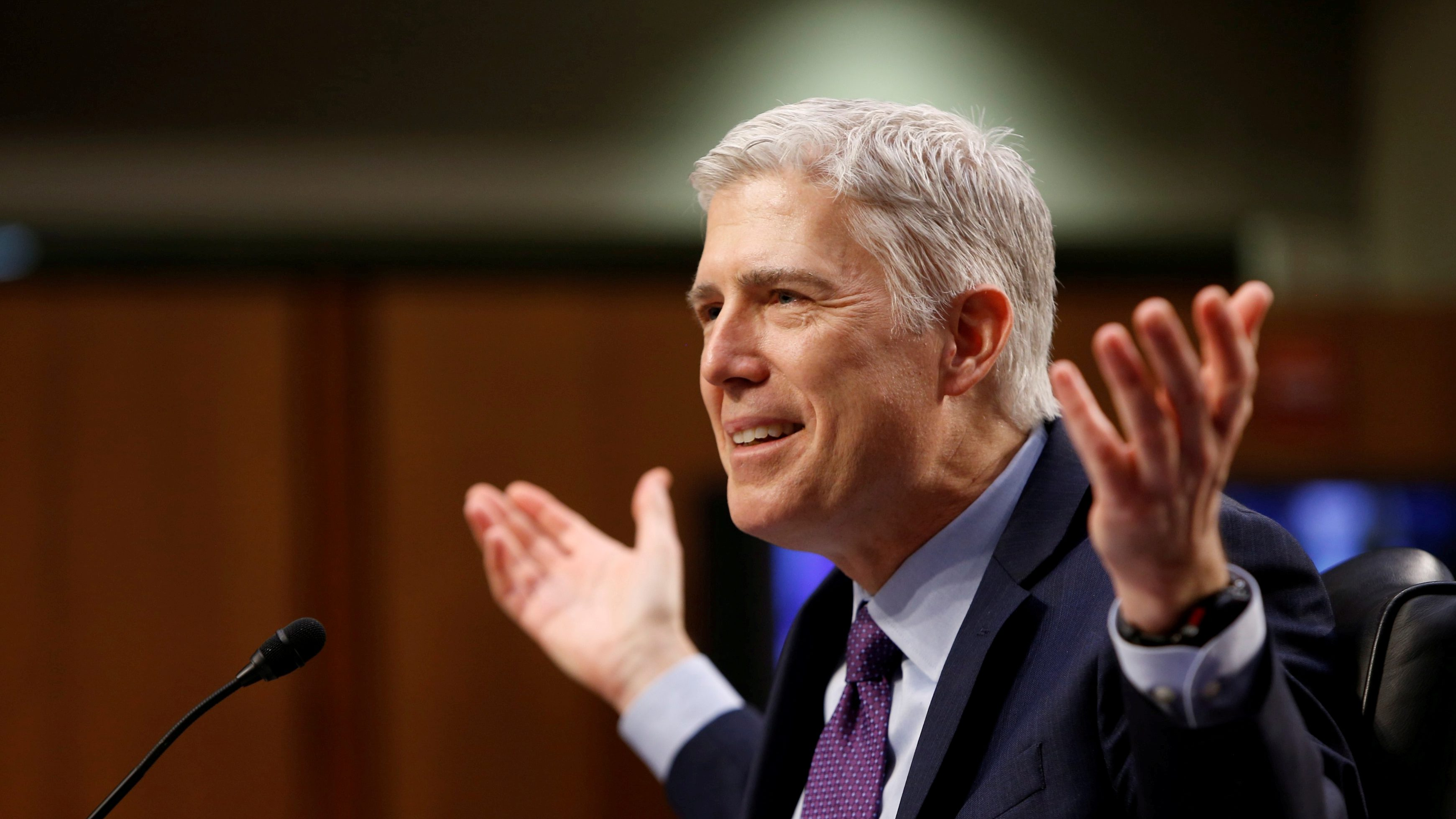 FILE PHOTO - U.S. Supreme Court nominee judge Neil Gorsuch testifies during the second day of his Senate Judiciary Committee confirmation hearing on Capitol Hill in Washington, DC, U.S. on March 21, 2017. REUTERS/Joshua Roberts/File Photo - RTX344I6
