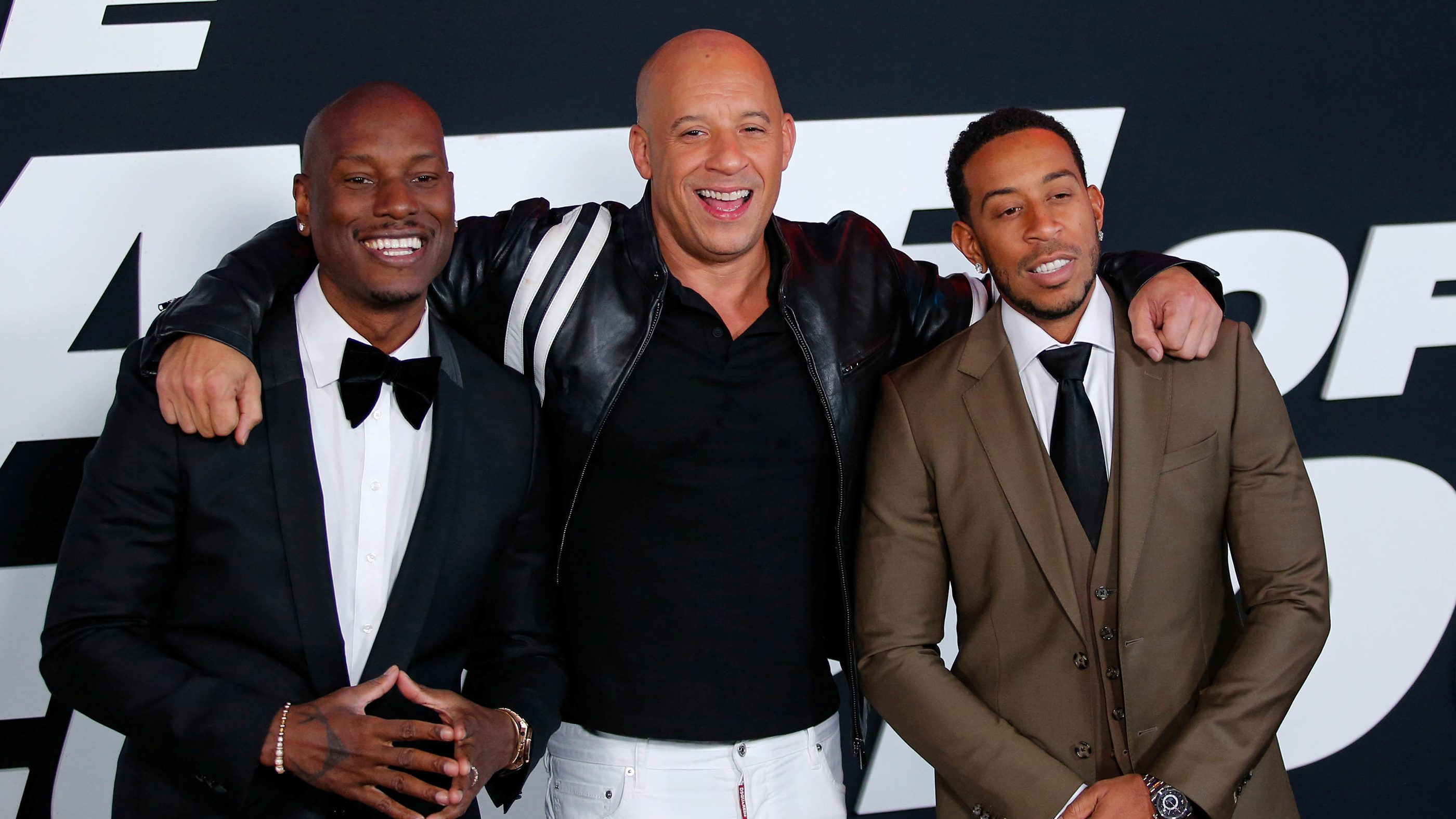 Actors Tyrese Gibson, Vin Diesel and Ludacris attend 'The Fate Of The Furious' New York premiere at Radio City Music Hall in New York, U.S. April 8, 2017. REUTERS/Eduardo Munoz - RTX34RGV