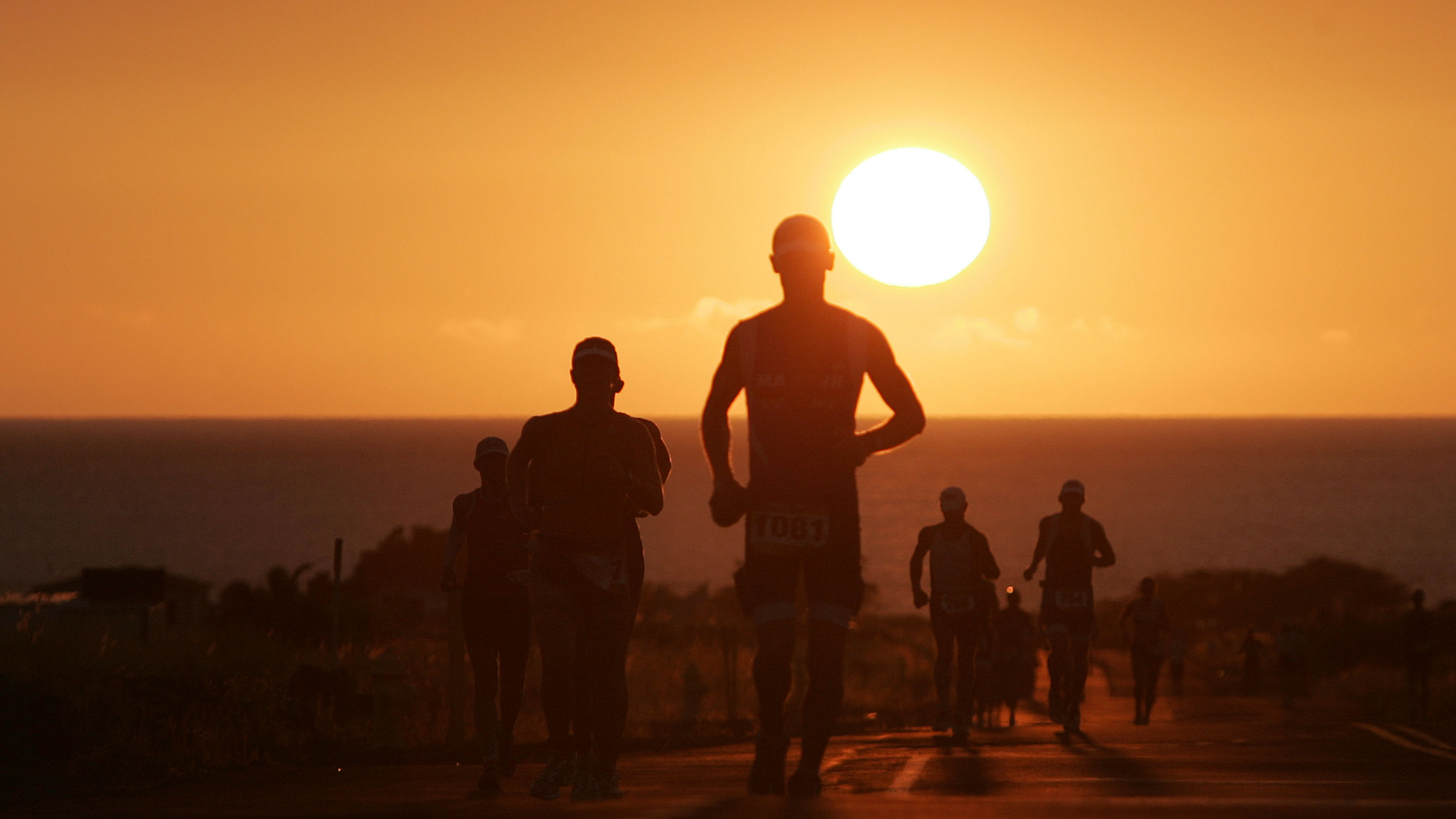 Runners cresting a hill with the sun in the background.