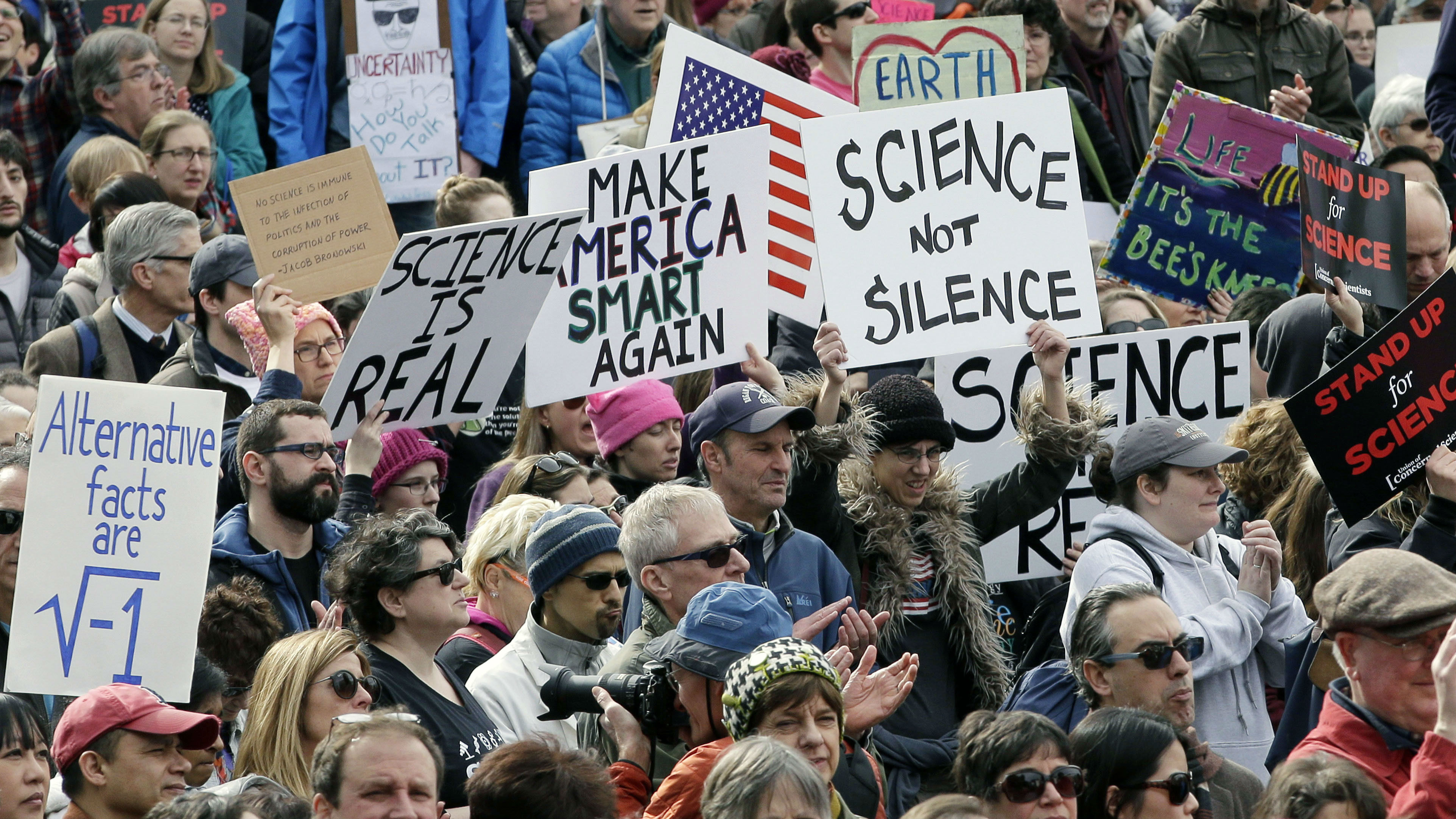 Protestors at a rally for science in Boston.