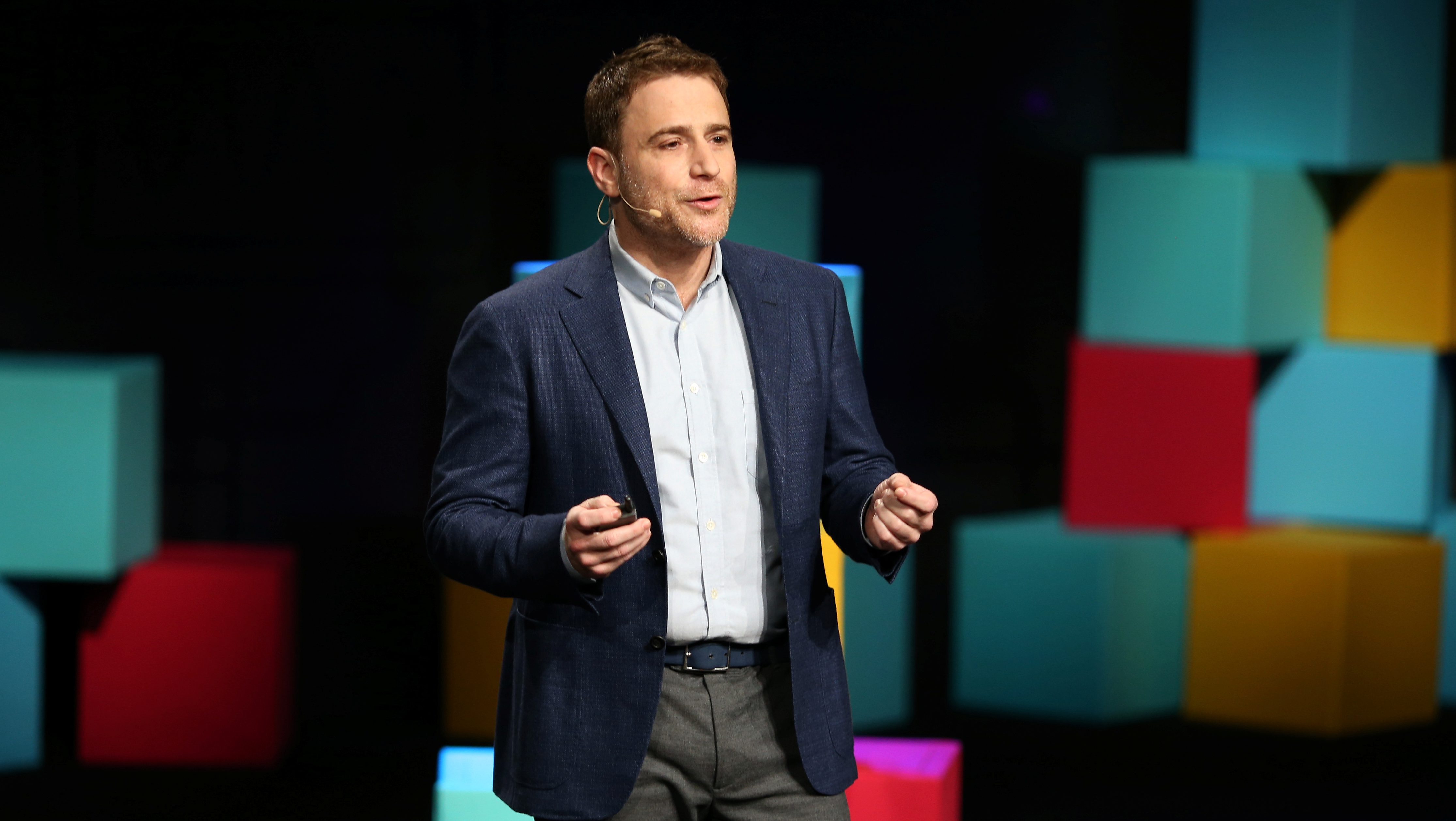 Stewart Butterfield, CEO of Slack, presents during the business messaging company's event in San Francisco, California, U.S. January 31, 2017.