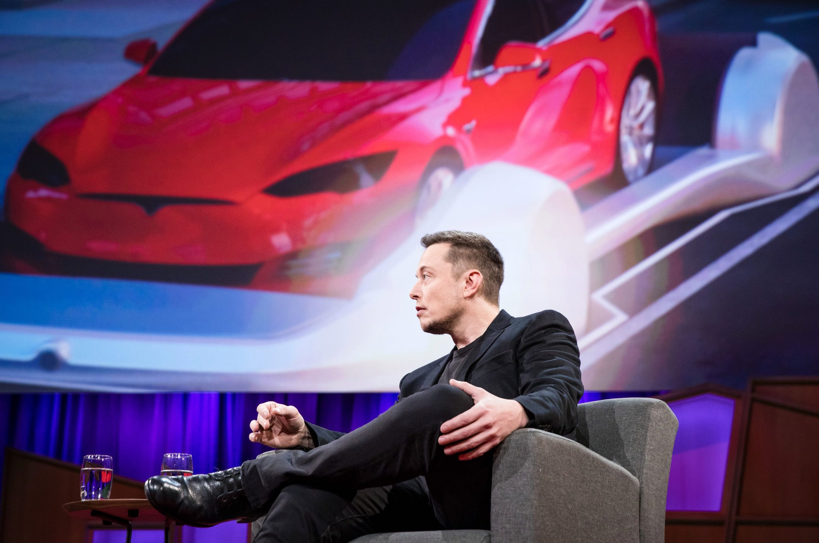 Chris Anderson interviews Elon Musk at TED2017 - The Future You, April 24-28, 2017, Vancouver, BC, Canada. Photo: Bret Hartman / TED