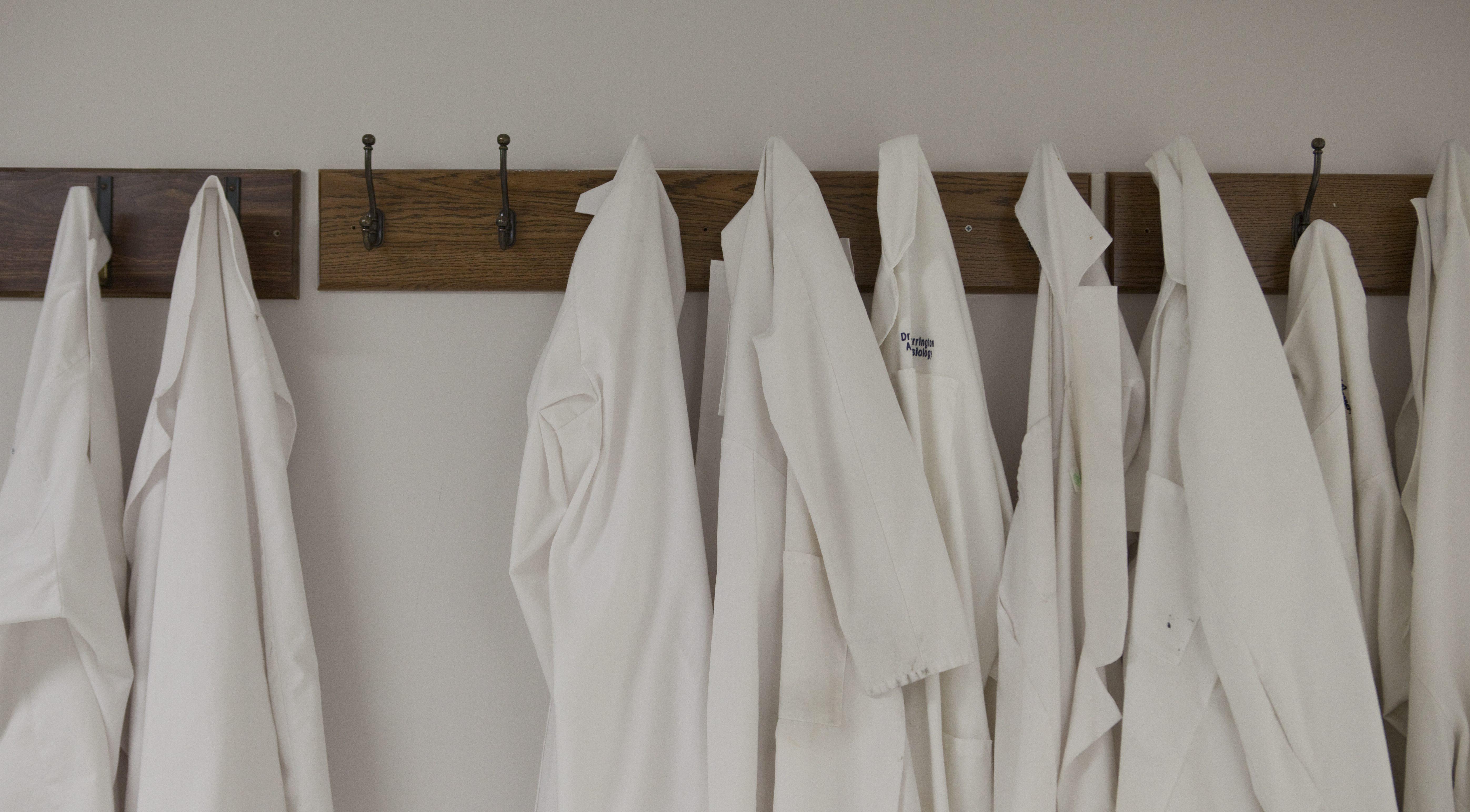 Lab coats hang outside the operating room at Washington Hospital Center on Friday, April  16, 2010 in Washington.