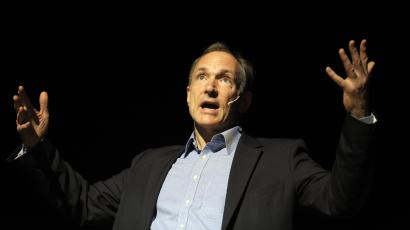 World Wide Web founder Berners-Lee delivers a speech at the Bilbao Web Summit in the Palacio Euskalduna.