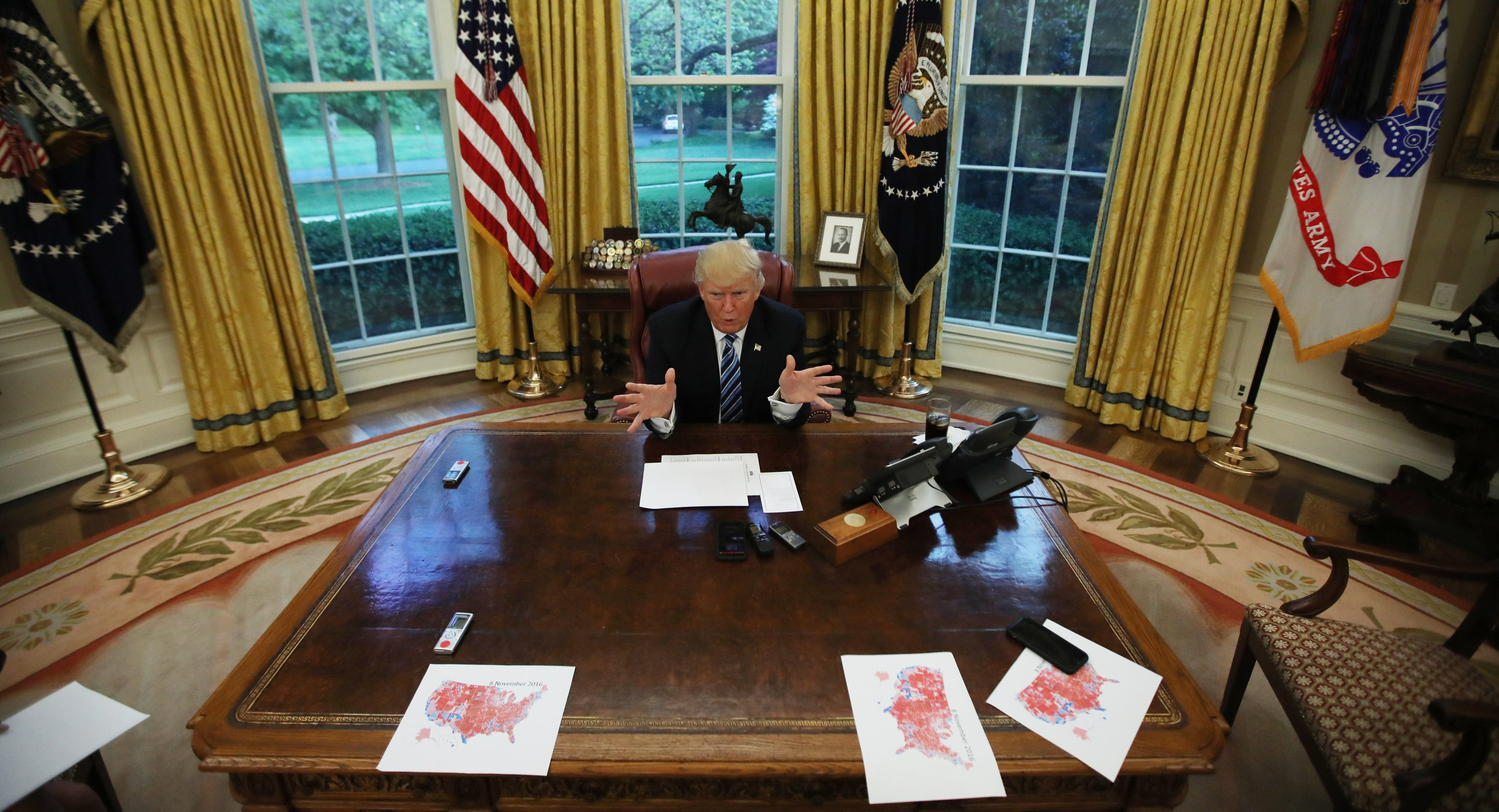 oval office resolute desk. U.S. President Donald Trump Speaks During An Interview With Reuters In The Oval Office Of Resolute Desk