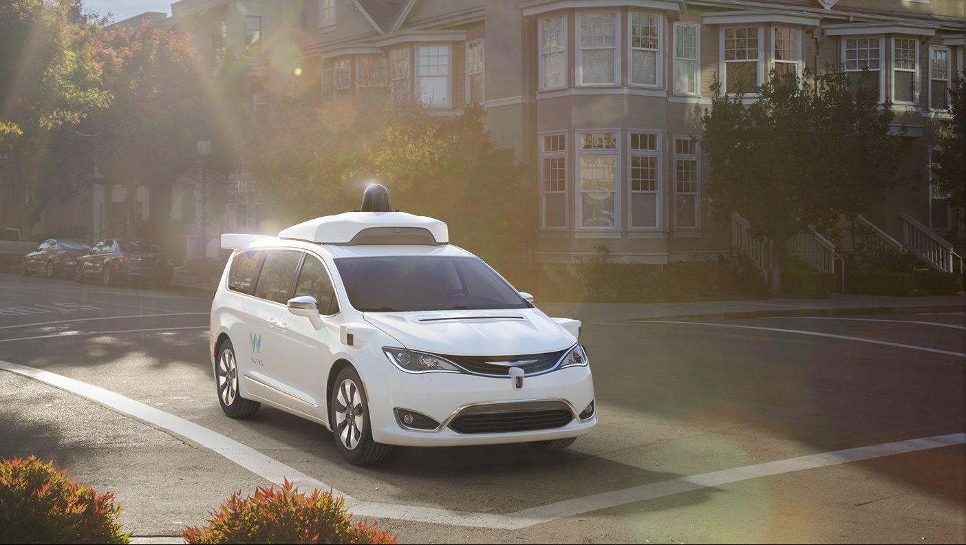 A Waymo self-driving Chrysler Pacifica Hybrid minivan.